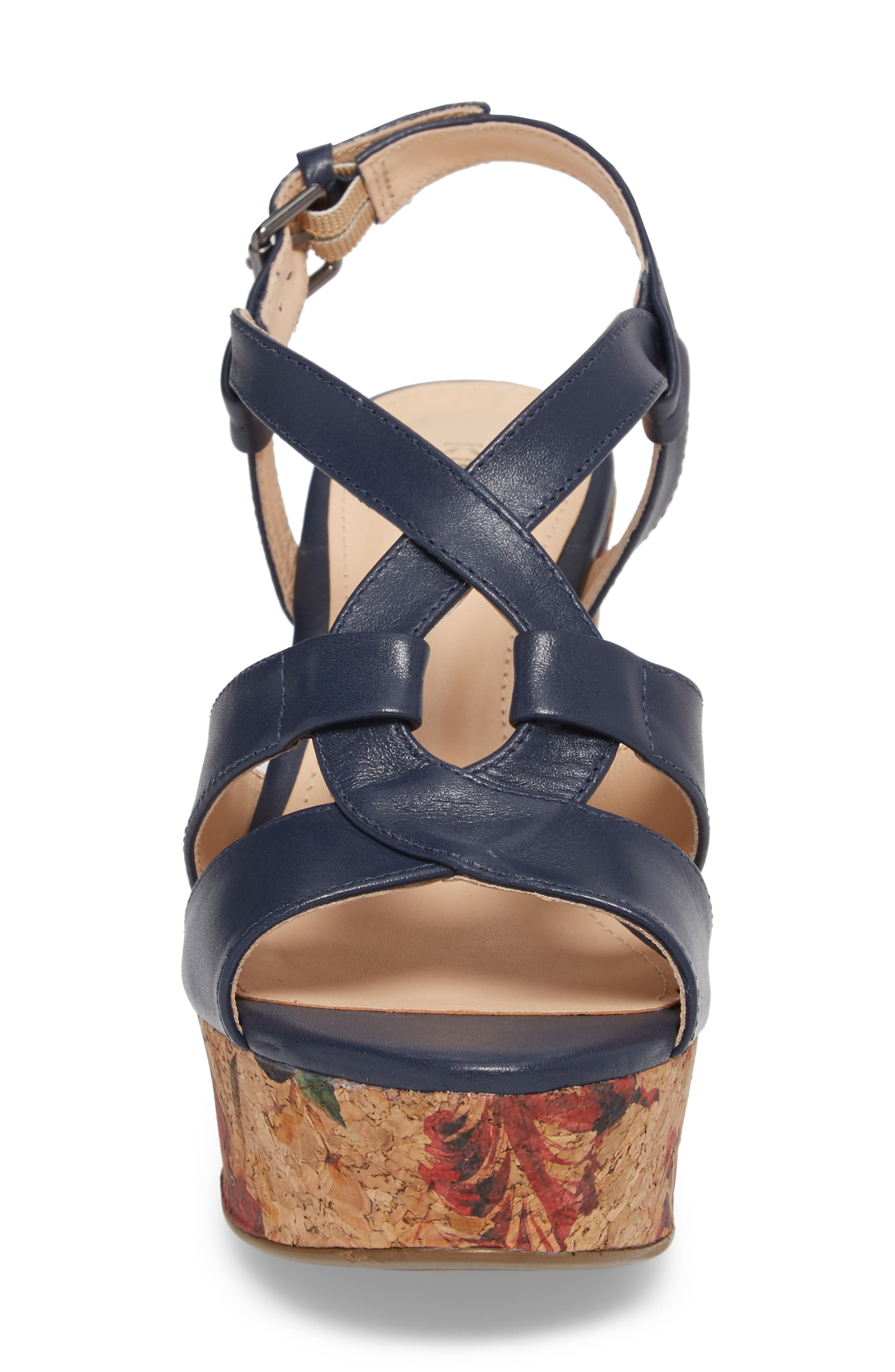 KLUB NICO,                             Victoria Platform Sandal,                             Alternate thumbnail 4, color,                             NAVY LEATHER