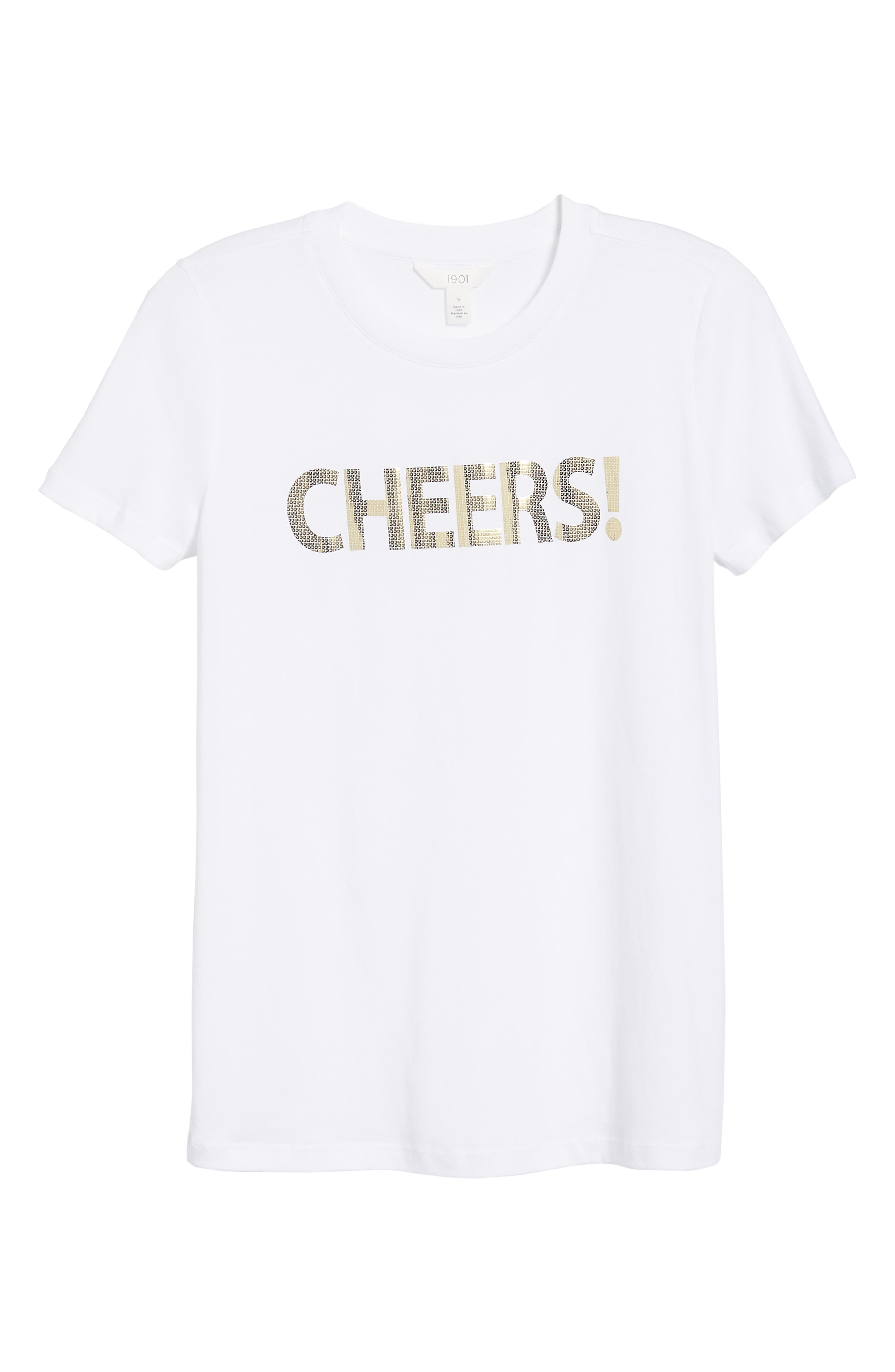 Short Sleeve Graphic Tee,                             Alternate thumbnail 6, color,                             WHITE- GOLD CHEERS