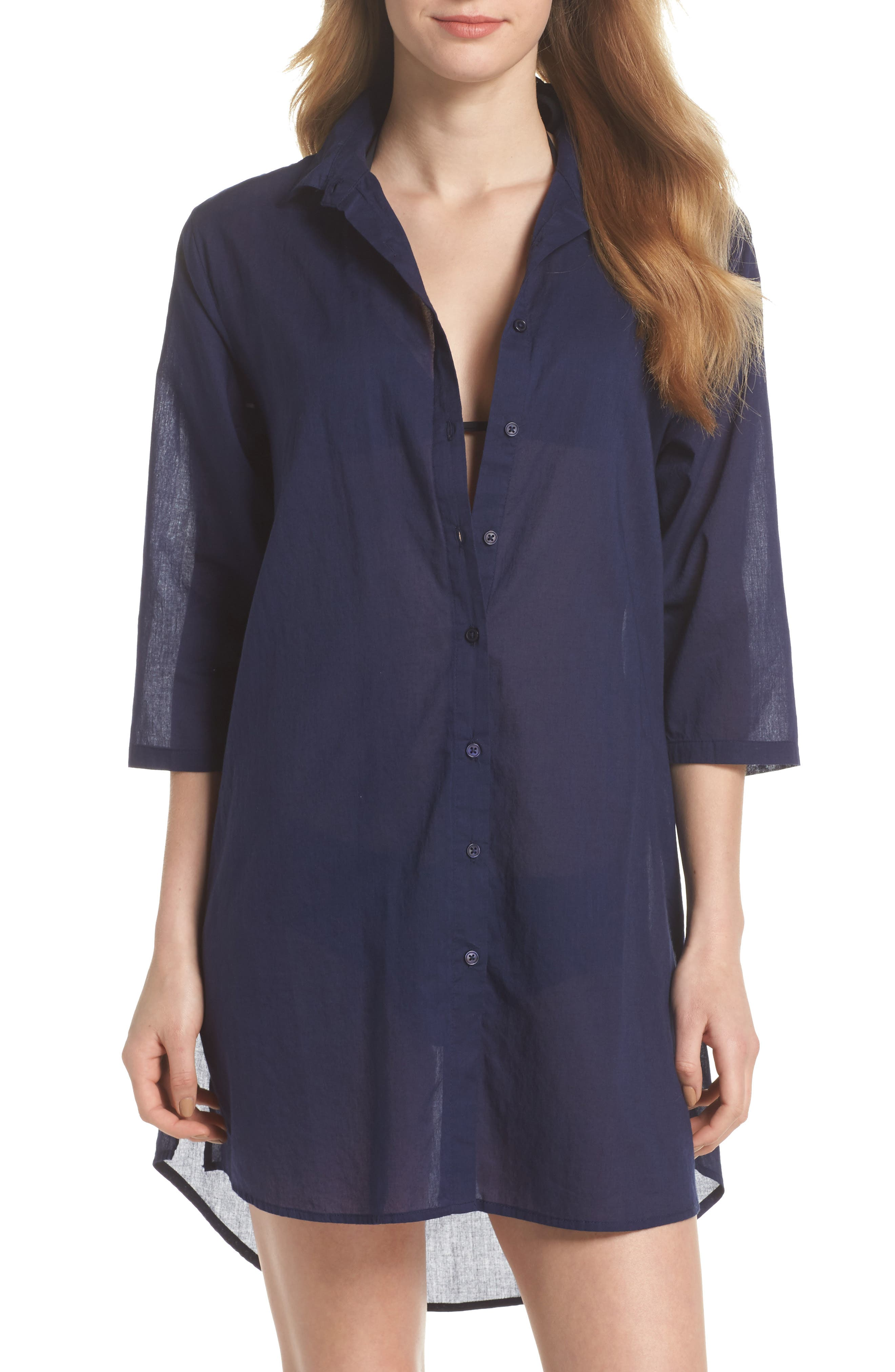 Solid Cover-Up Dress,                             Main thumbnail 2, color,