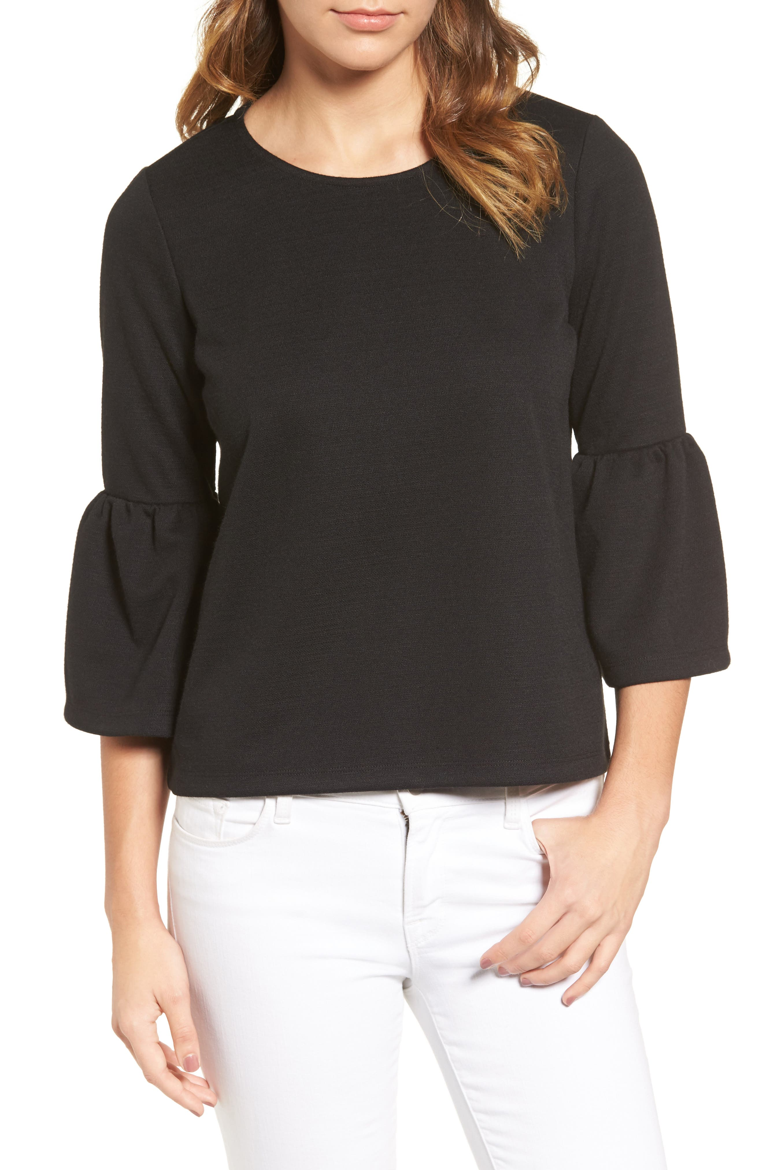 HALOGEN<SUP>®</SUP>,                             Bell Sleeve Top,                             Main thumbnail 1, color,                             001