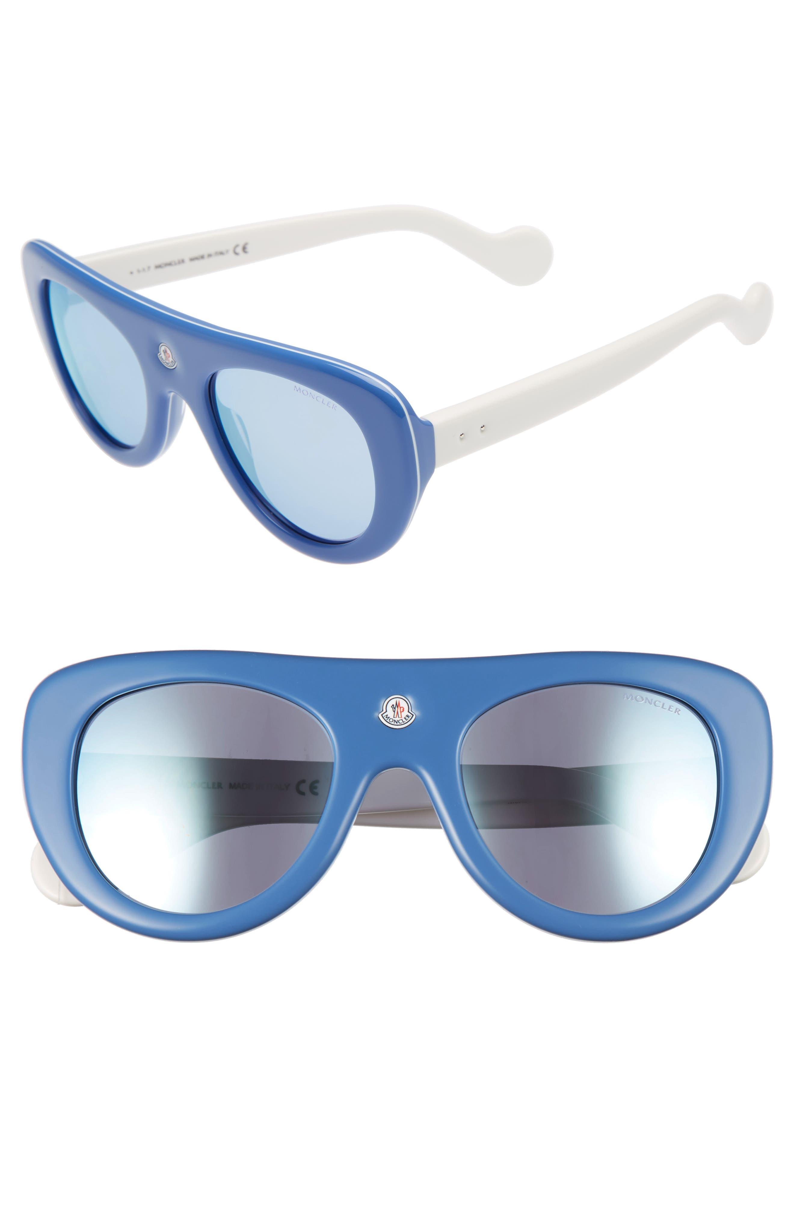 51mm Shield Sunglasses,                         Main,                         color, BLUE/ IVORY/ VIOLET MIRROR