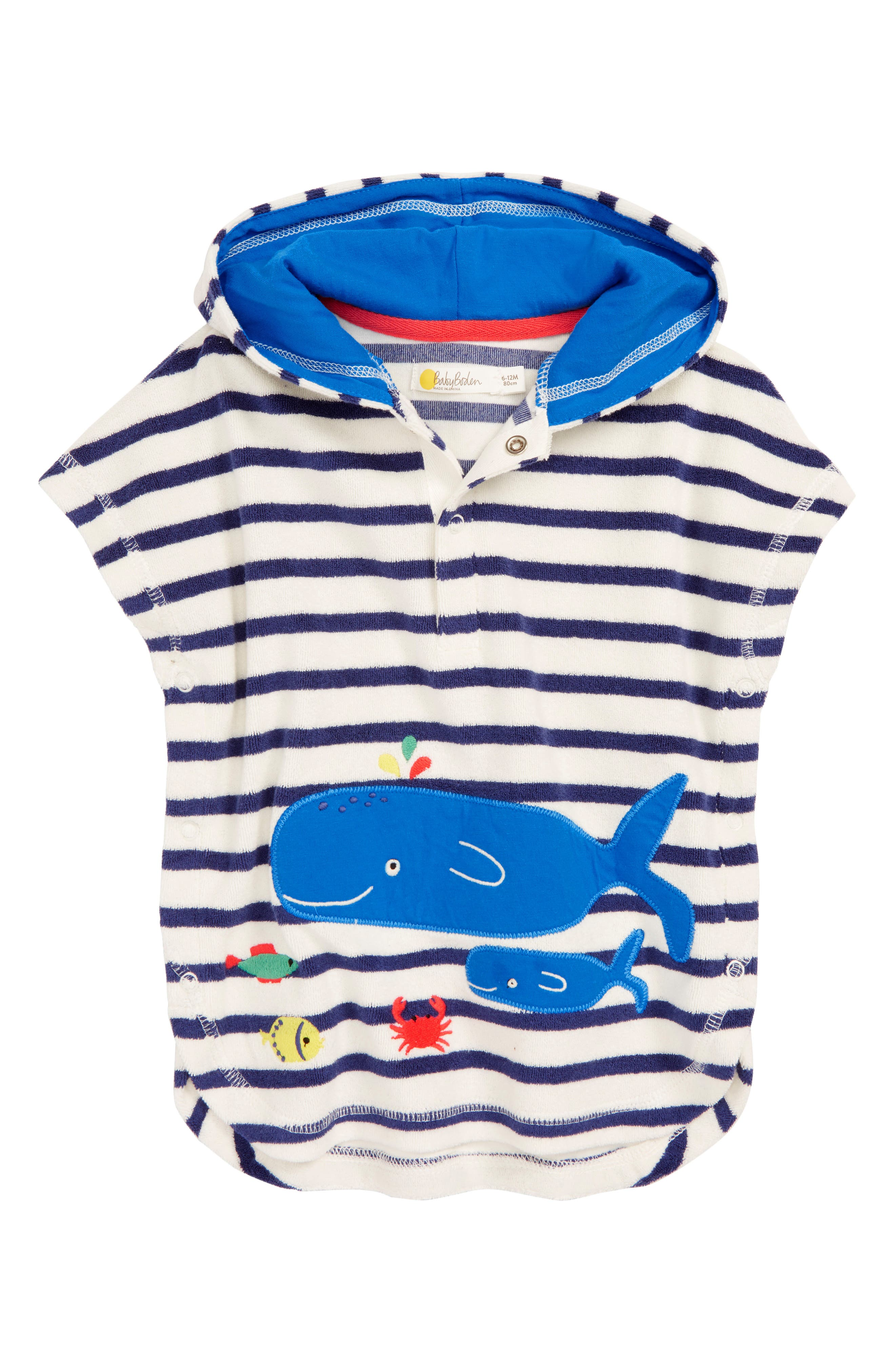 MINI BODEN,                             Whale Appliqué Hooded Cover-Up,                             Main thumbnail 1, color,                             NAV STARBOARD BLUE/ ECRU WHALE