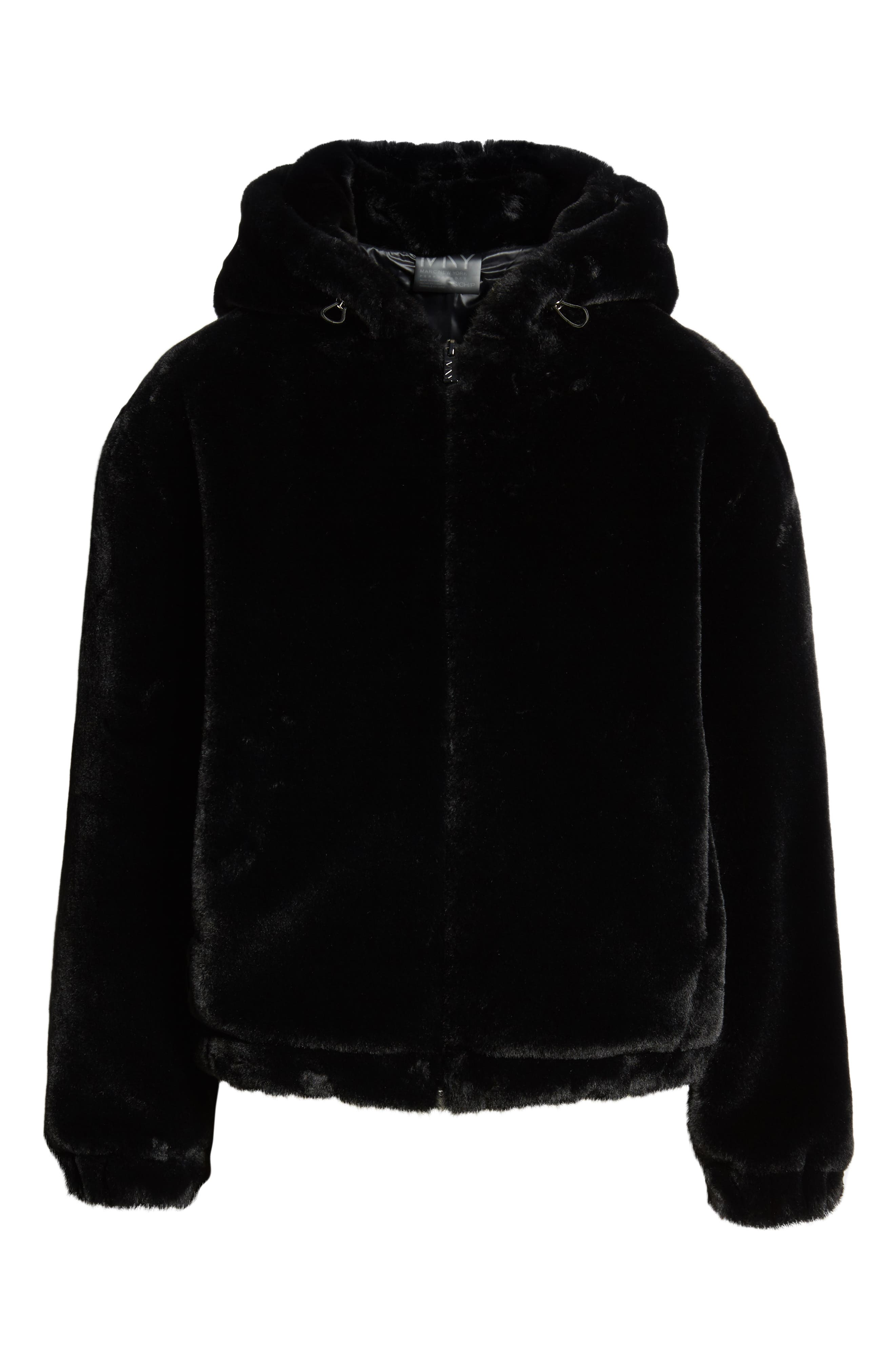 Faux Fur Bomber Jacket,                             Alternate thumbnail 5, color,                             001