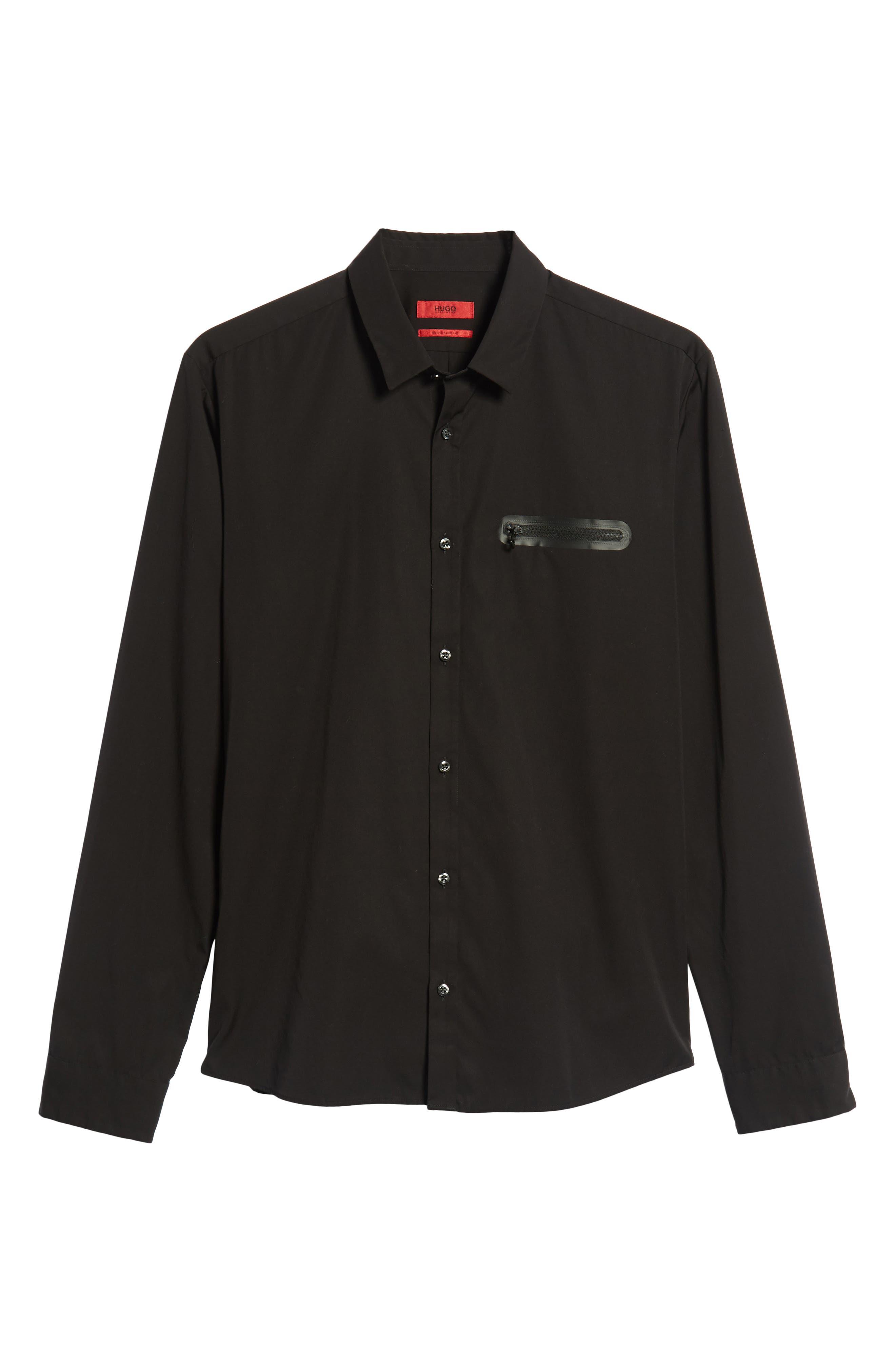 Ero Extra Slim Fit Zip Pocket Sport Shirt,                             Alternate thumbnail 5, color,                             BLACK