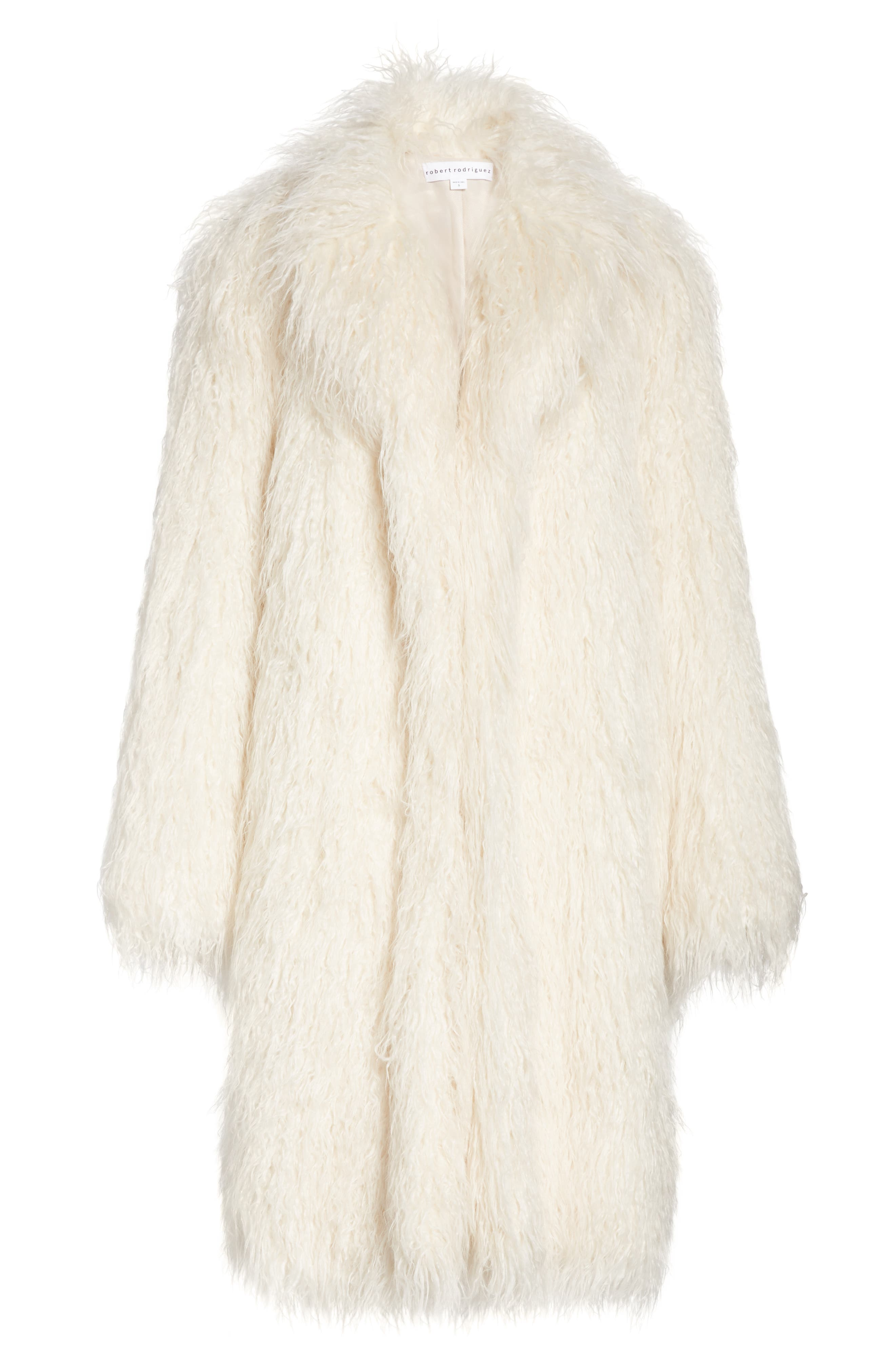 Mongolian Faux Fur Coat,                             Alternate thumbnail 5, color,                             IVORY