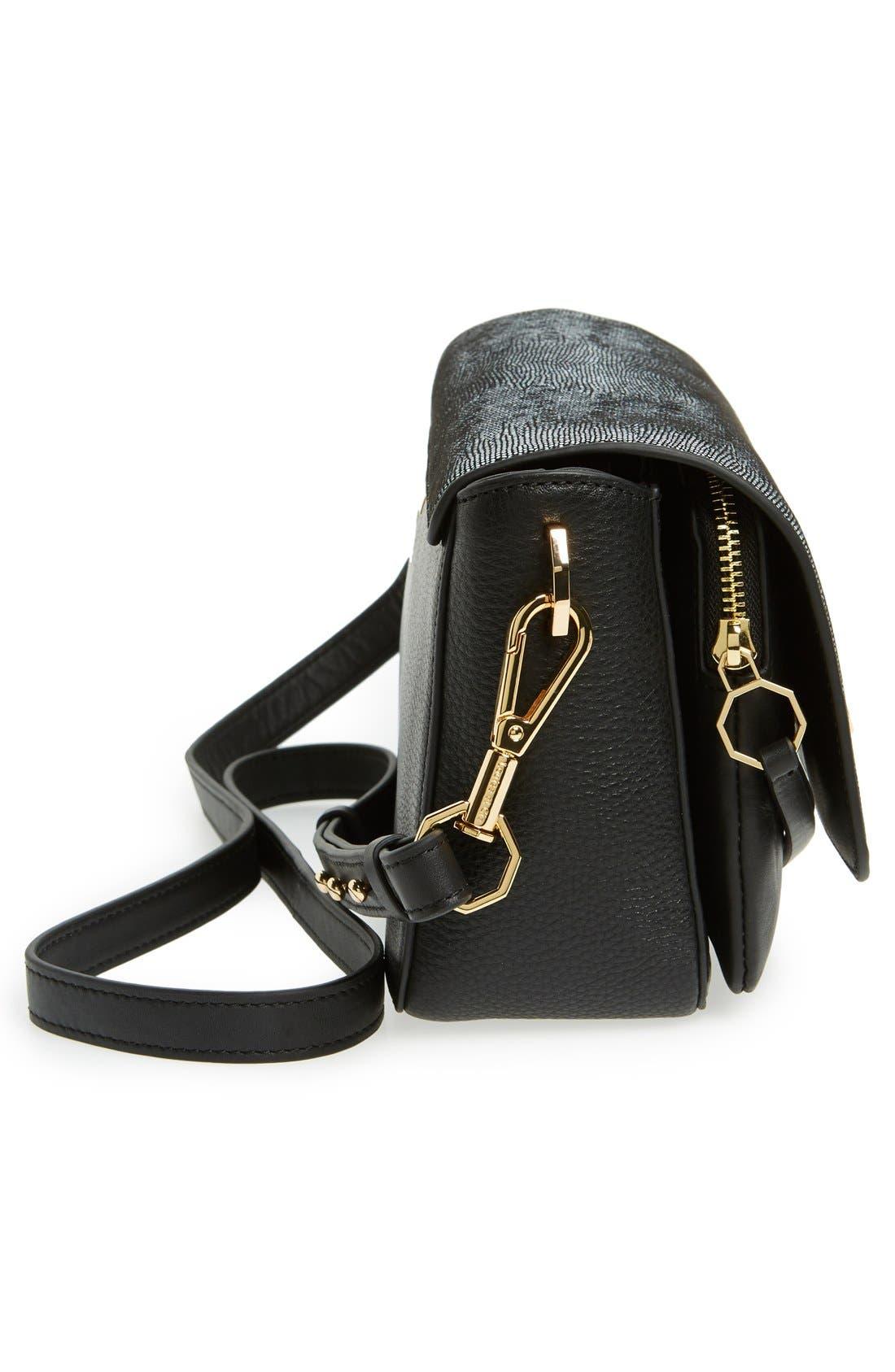 'Small Alis' Leather Crossbody Bag,                             Alternate thumbnail 4, color,                             001