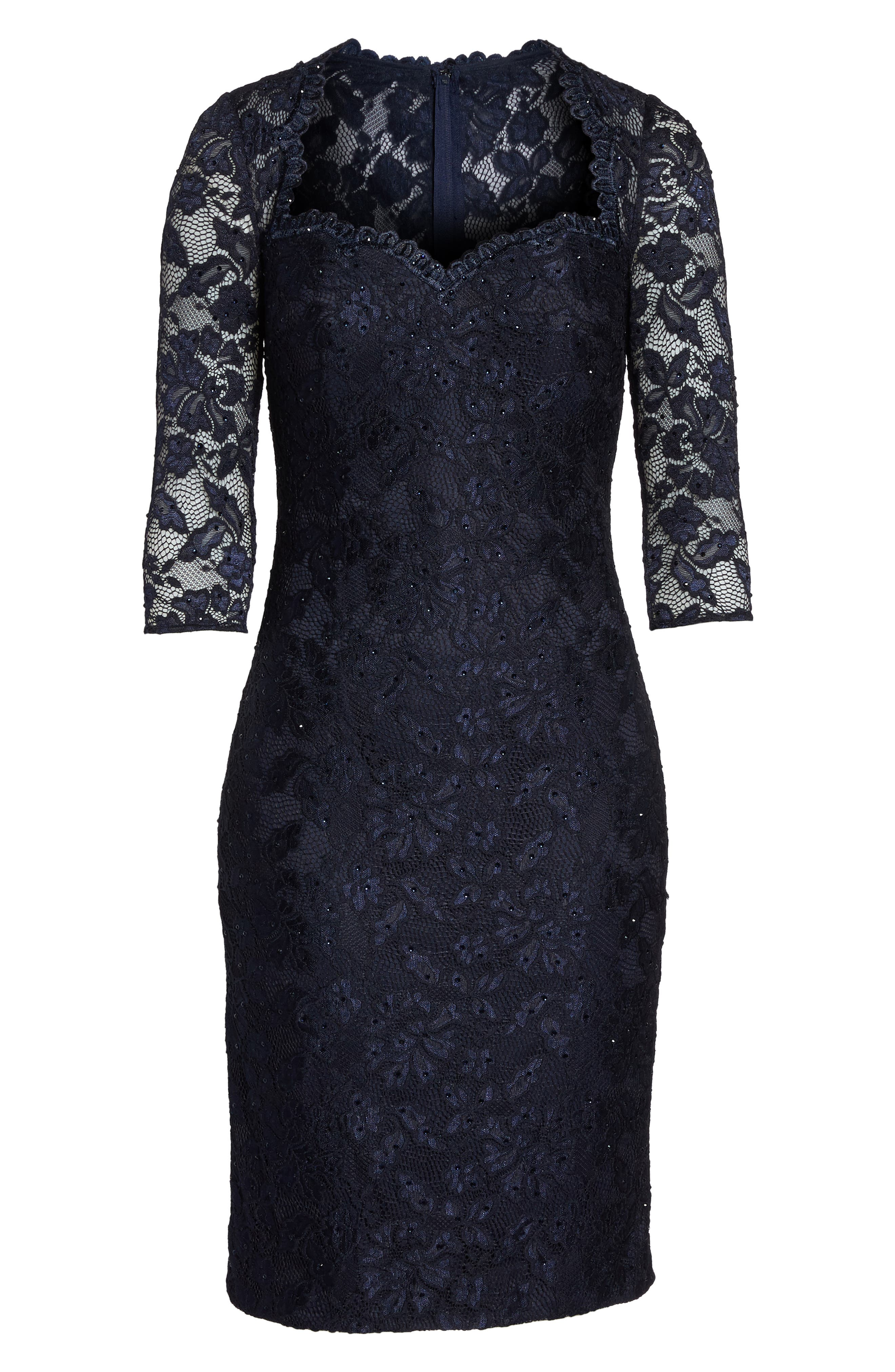 Sweetheart Lace Sheath Dress,                             Alternate thumbnail 6, color,                             NAVY