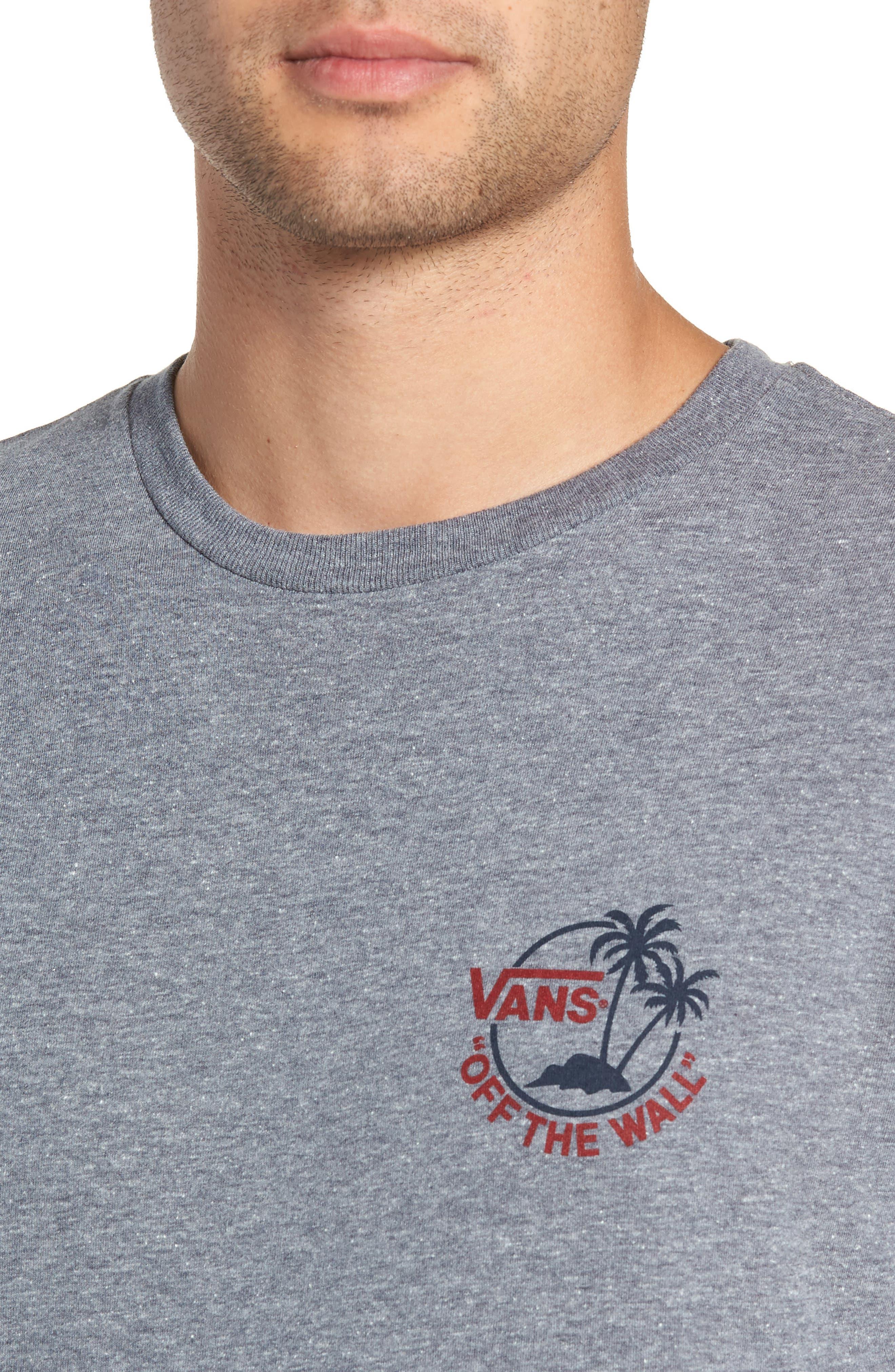 Mini Dual Palm III T-Shirt,                             Alternate thumbnail 4, color,                             HEATHER GREY/ CHILI PEPPER