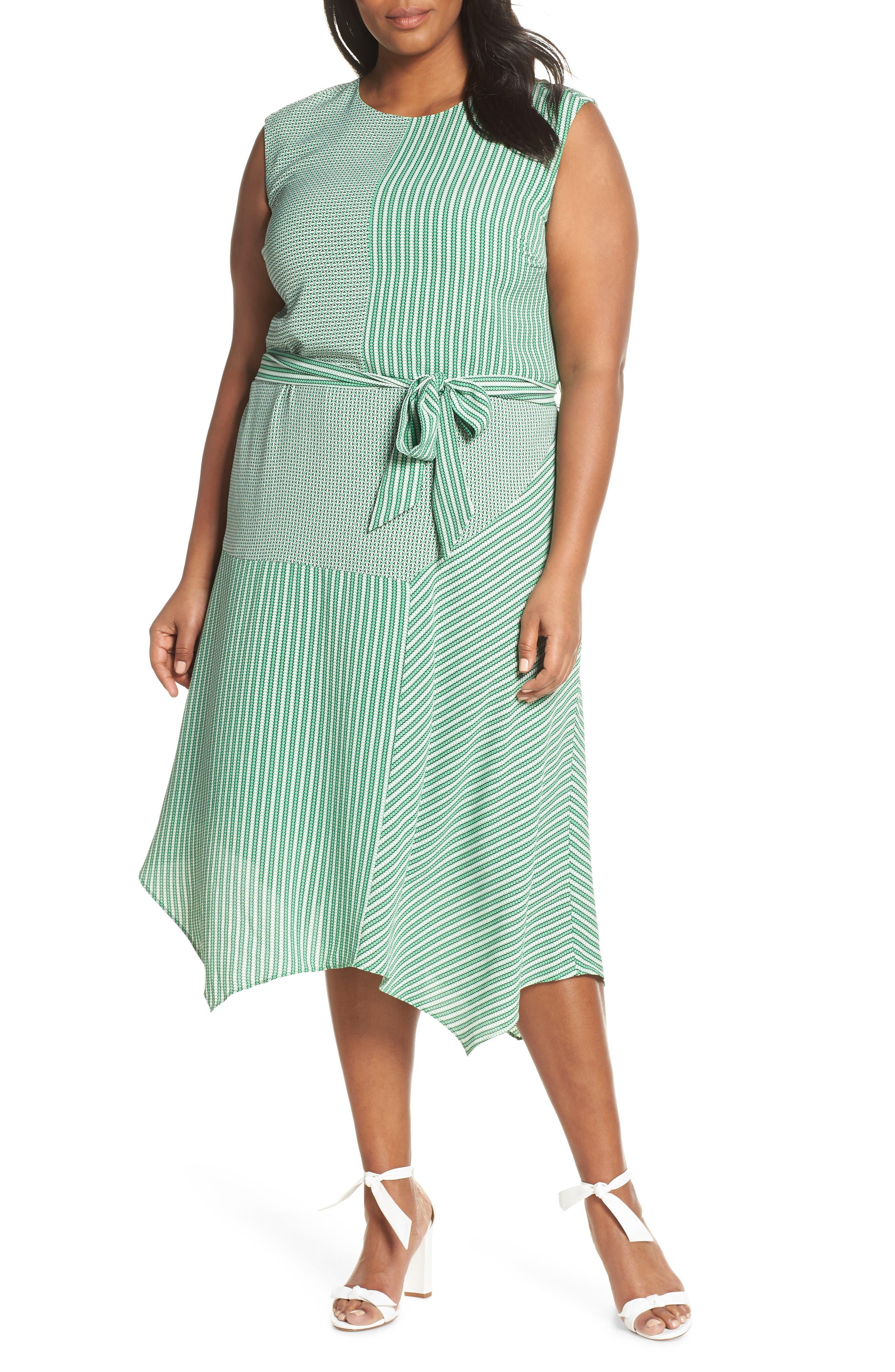 Plus Size Vince Camuto Linear Motion Midi Dress, Green