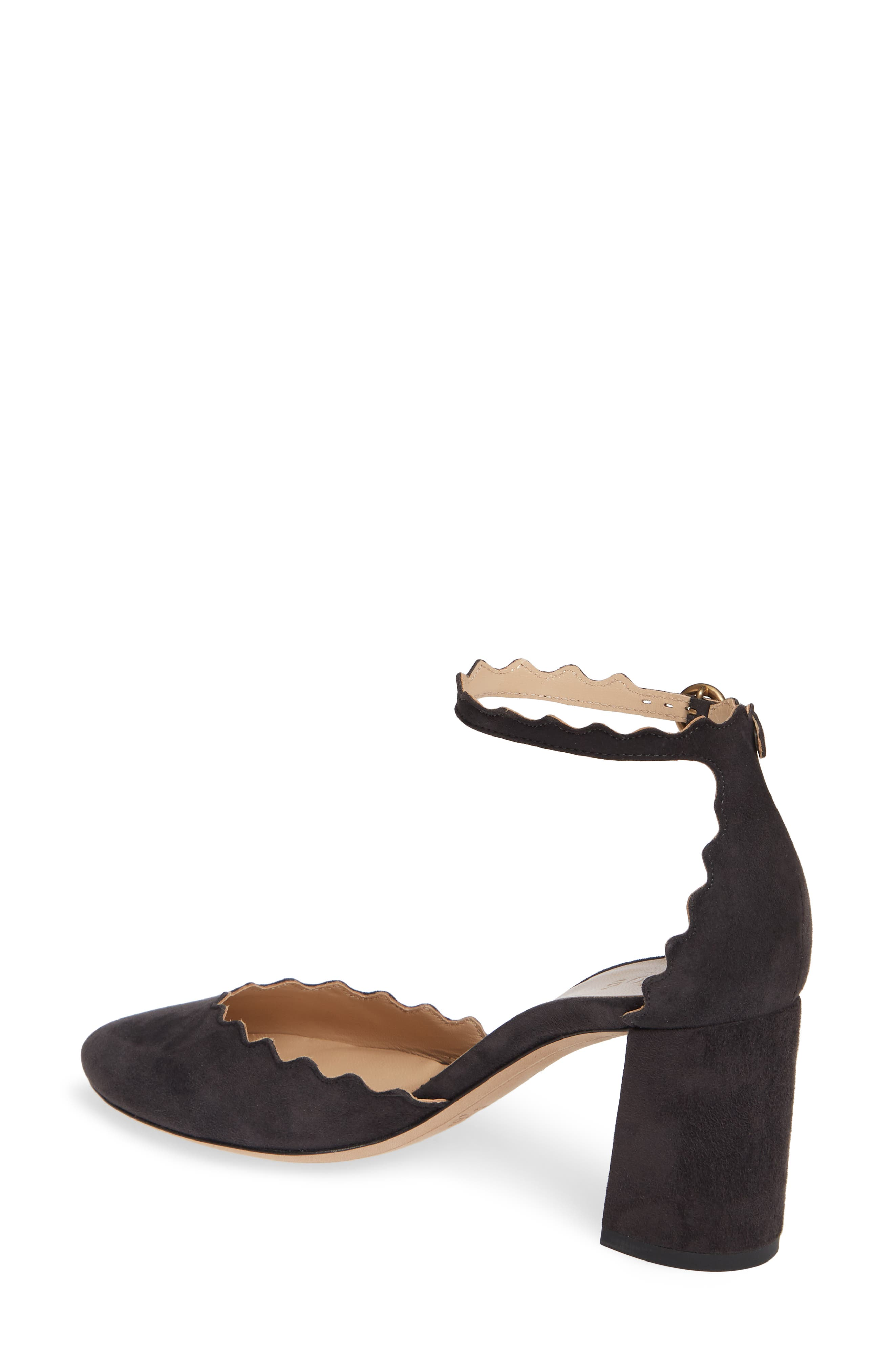 Scalloped Ankle Strap d'Orsay Pump,                             Alternate thumbnail 2, color,                             CHARCOAL BLACK
