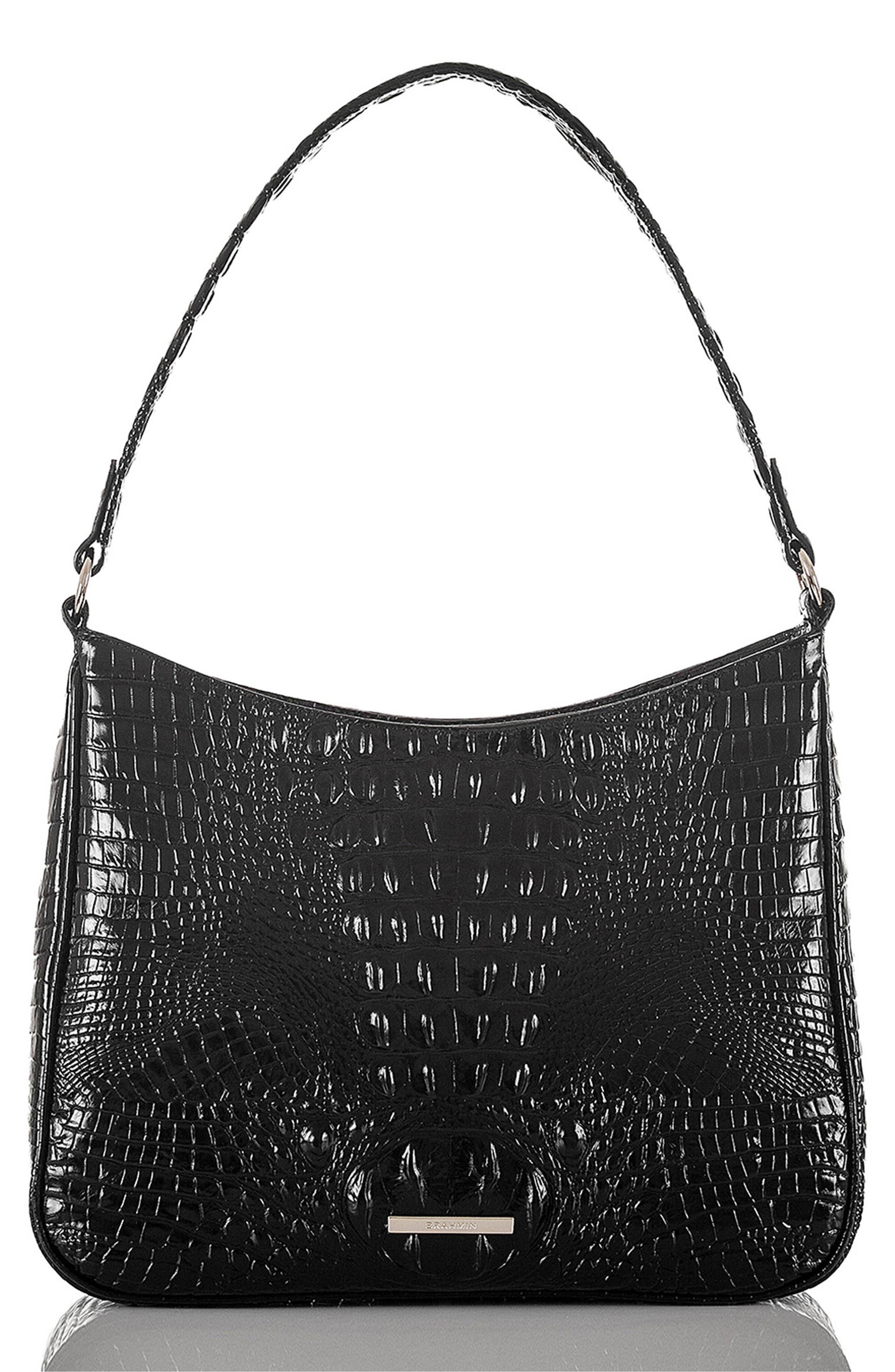 Noelle Croc Embossed Leather Hobo Bag,                             Main thumbnail 1, color,                             BLACK