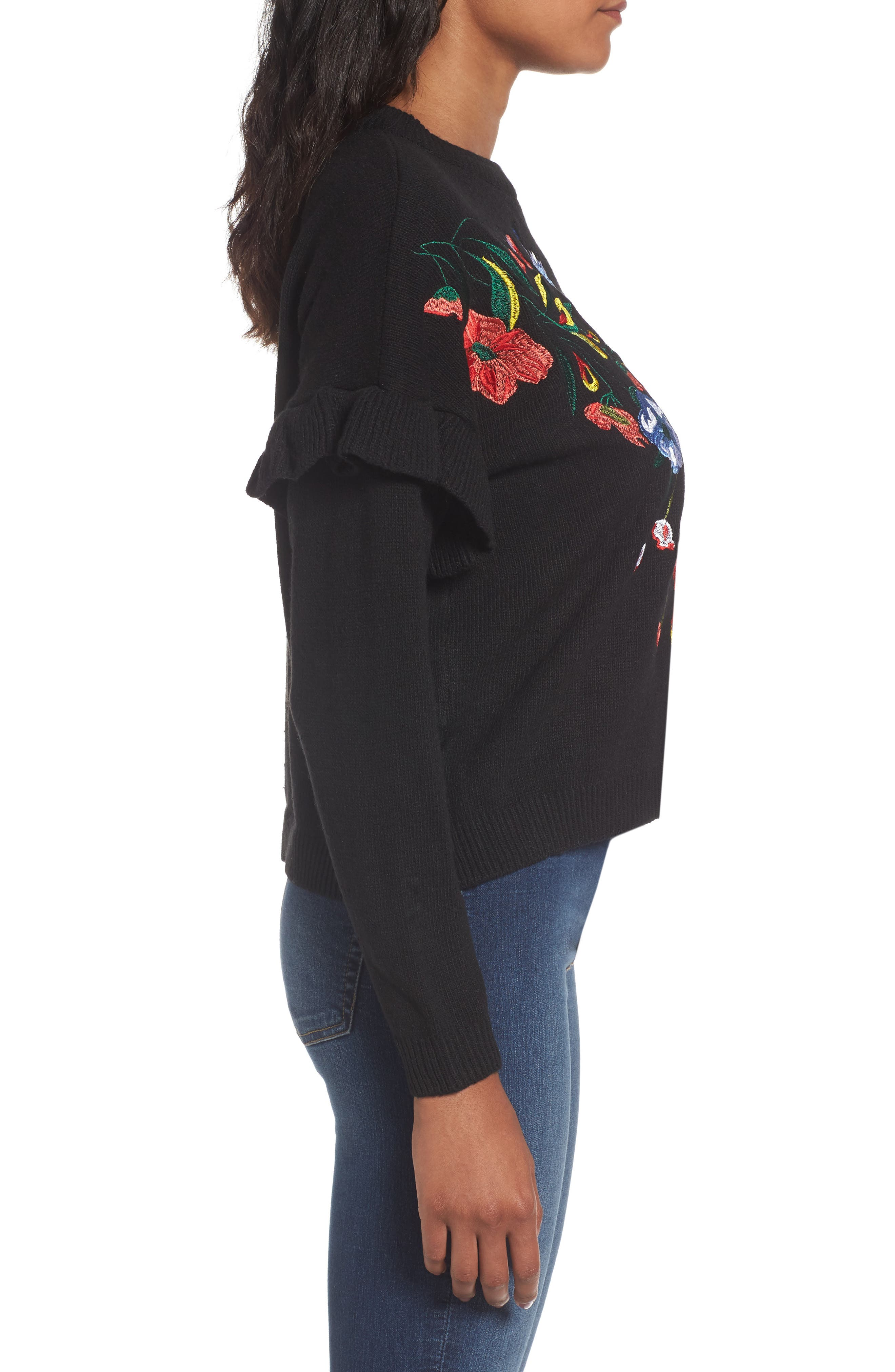 Ruffle Sleeve Embroidered Sweater,                             Alternate thumbnail 3, color,                             001