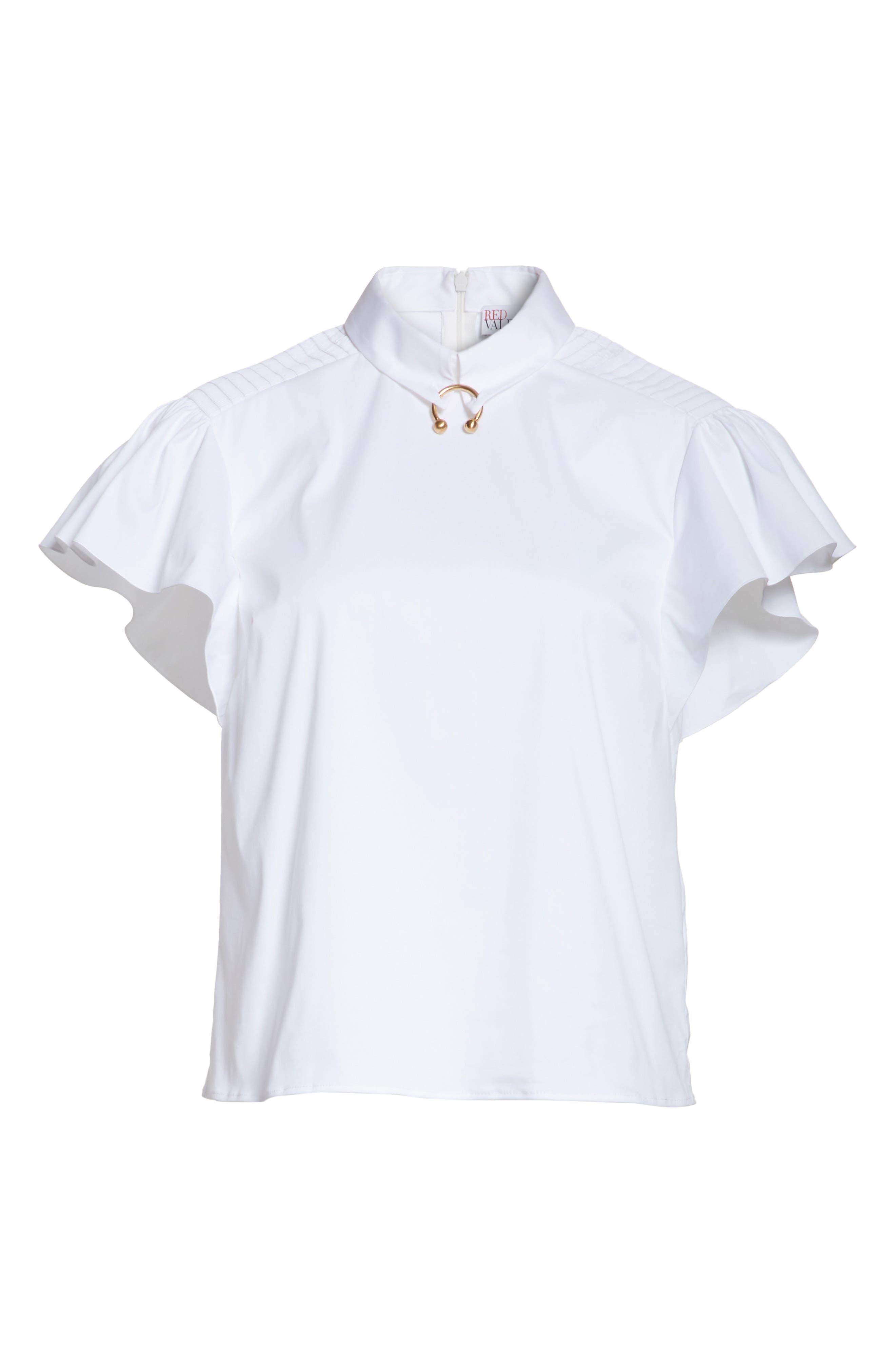 Pierced Cotton Poplin Shirt,                             Alternate thumbnail 6, color,                             100