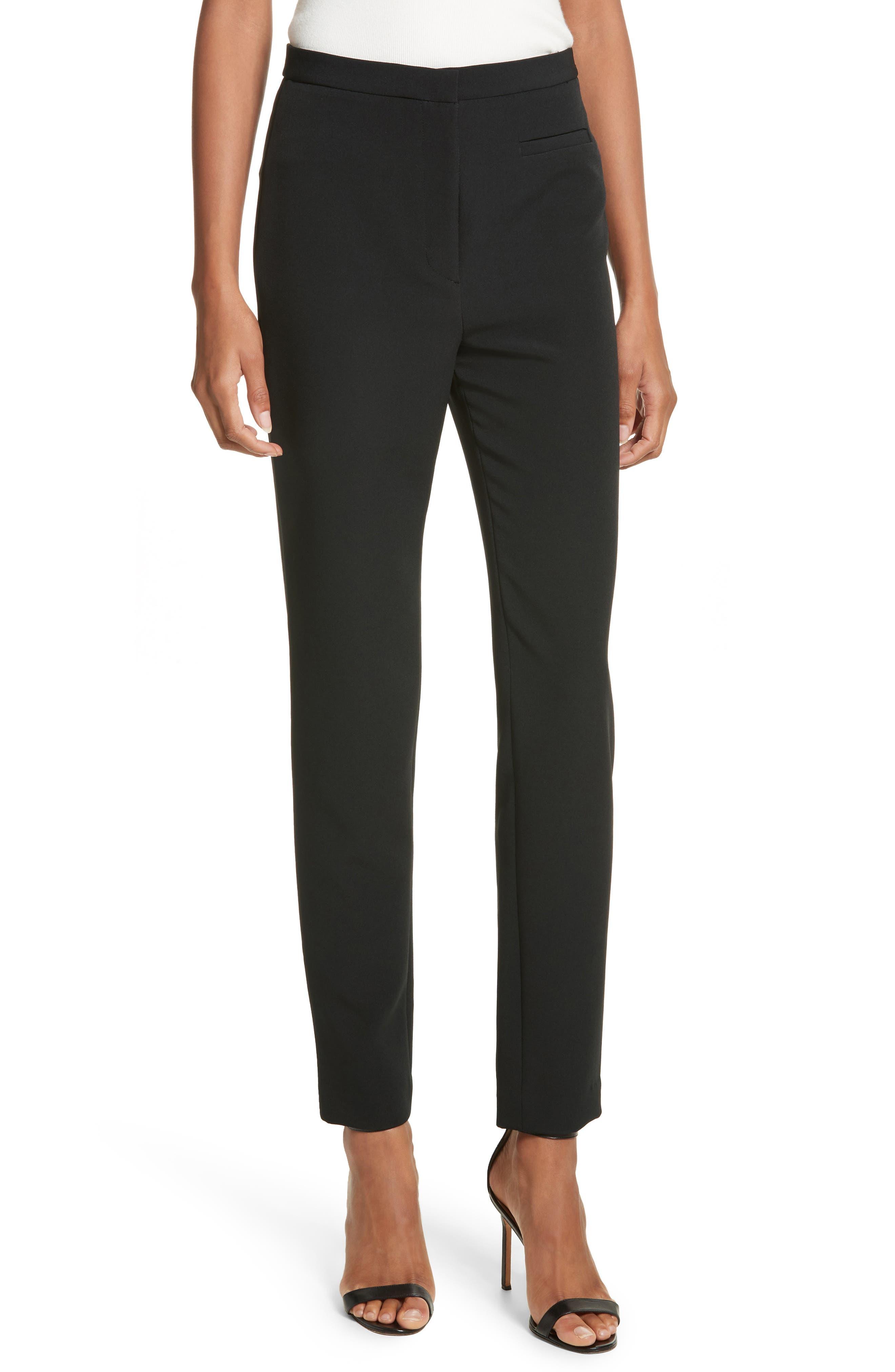 Stretch Crepe High Waist Skinny Pants,                         Main,                         color, 001