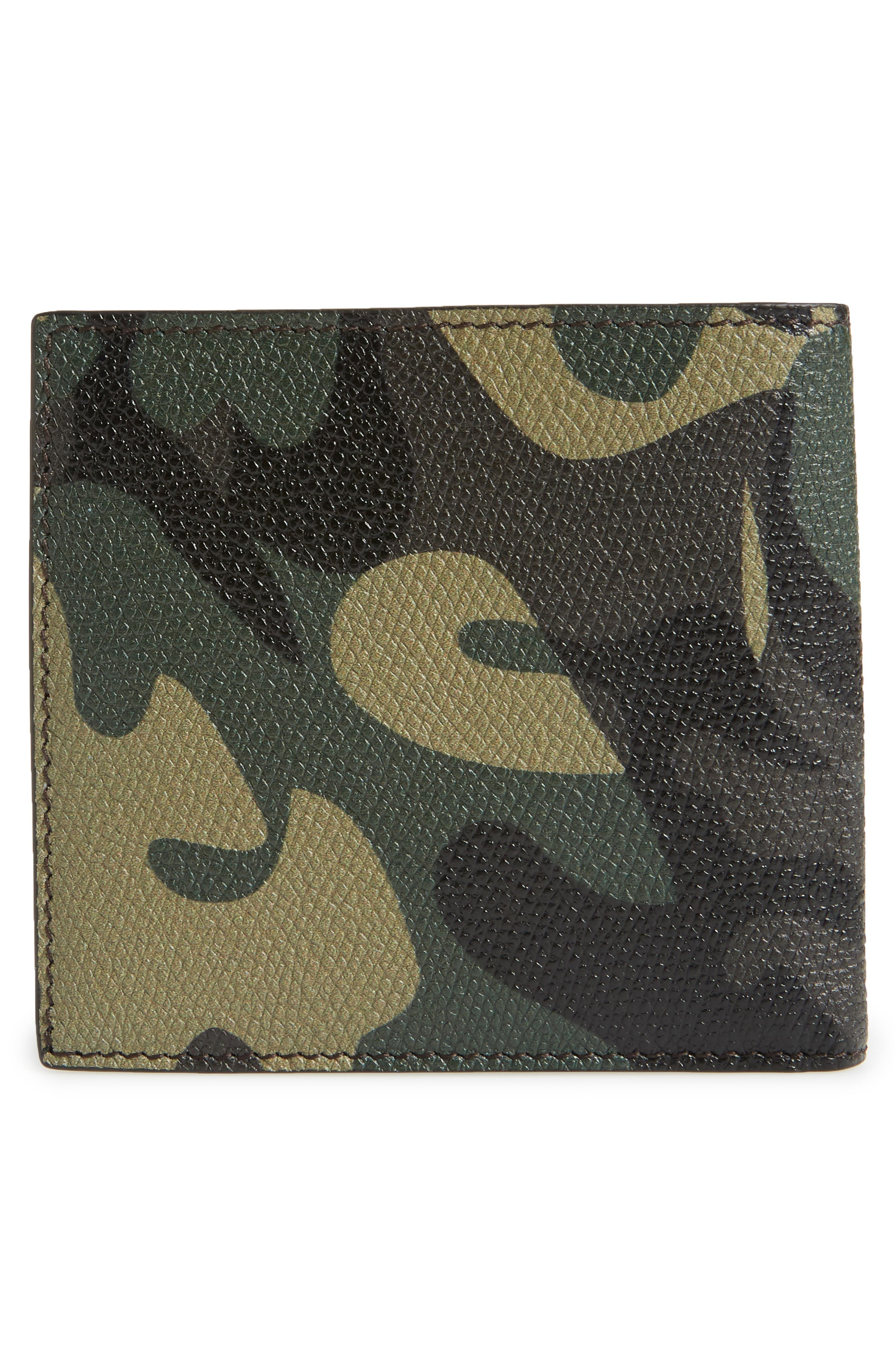 Camo Leather Billfold Wallet,                             Alternate thumbnail 3, color,                             009