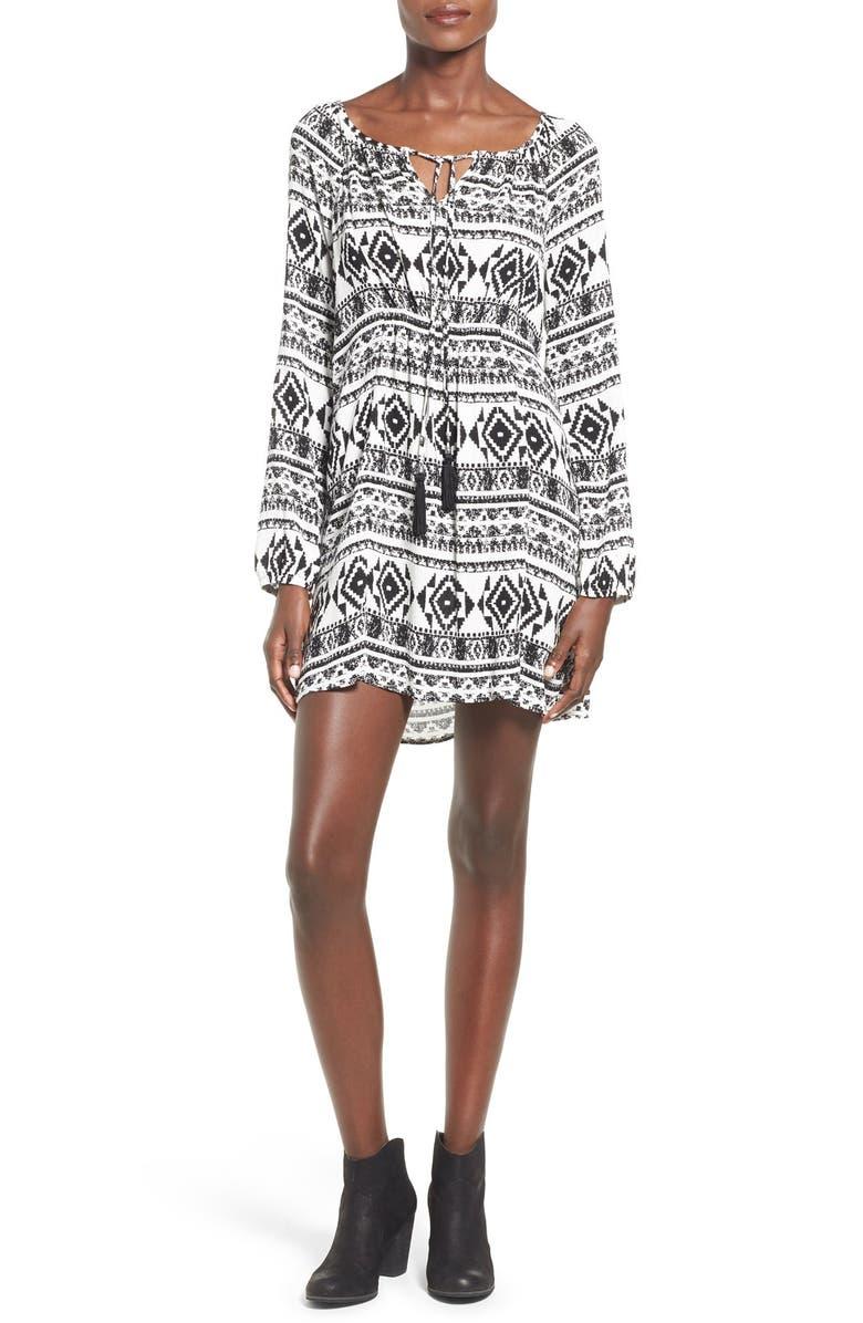 651611d7cdd2 SOCIALITE Geo Print Long Sleeve Shift Dress, Main, color, 905
