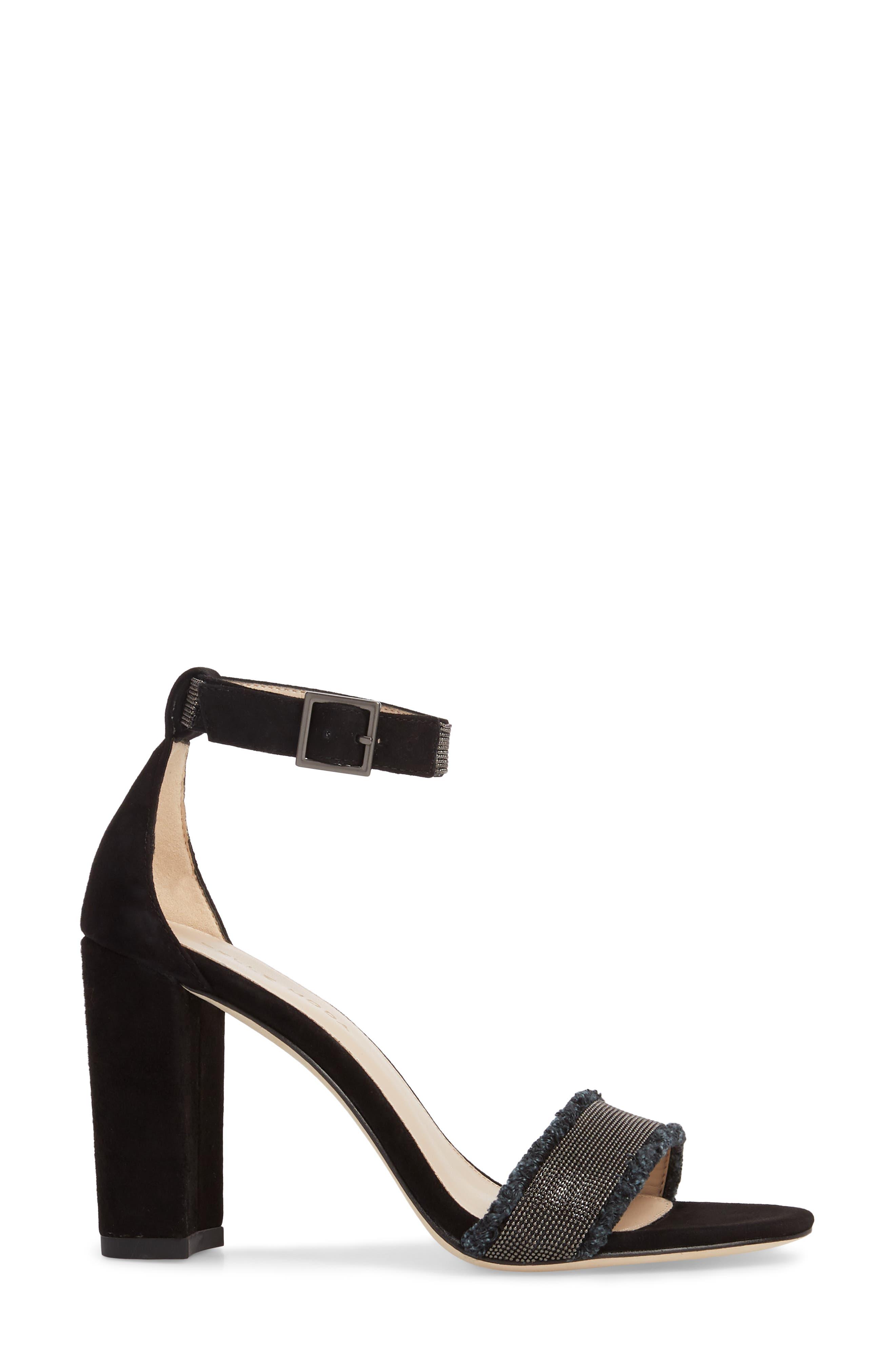 PELLE MODA,                             Bonnie6 Embellished Sandal,                             Alternate thumbnail 3, color,                             BLACK SUEDE