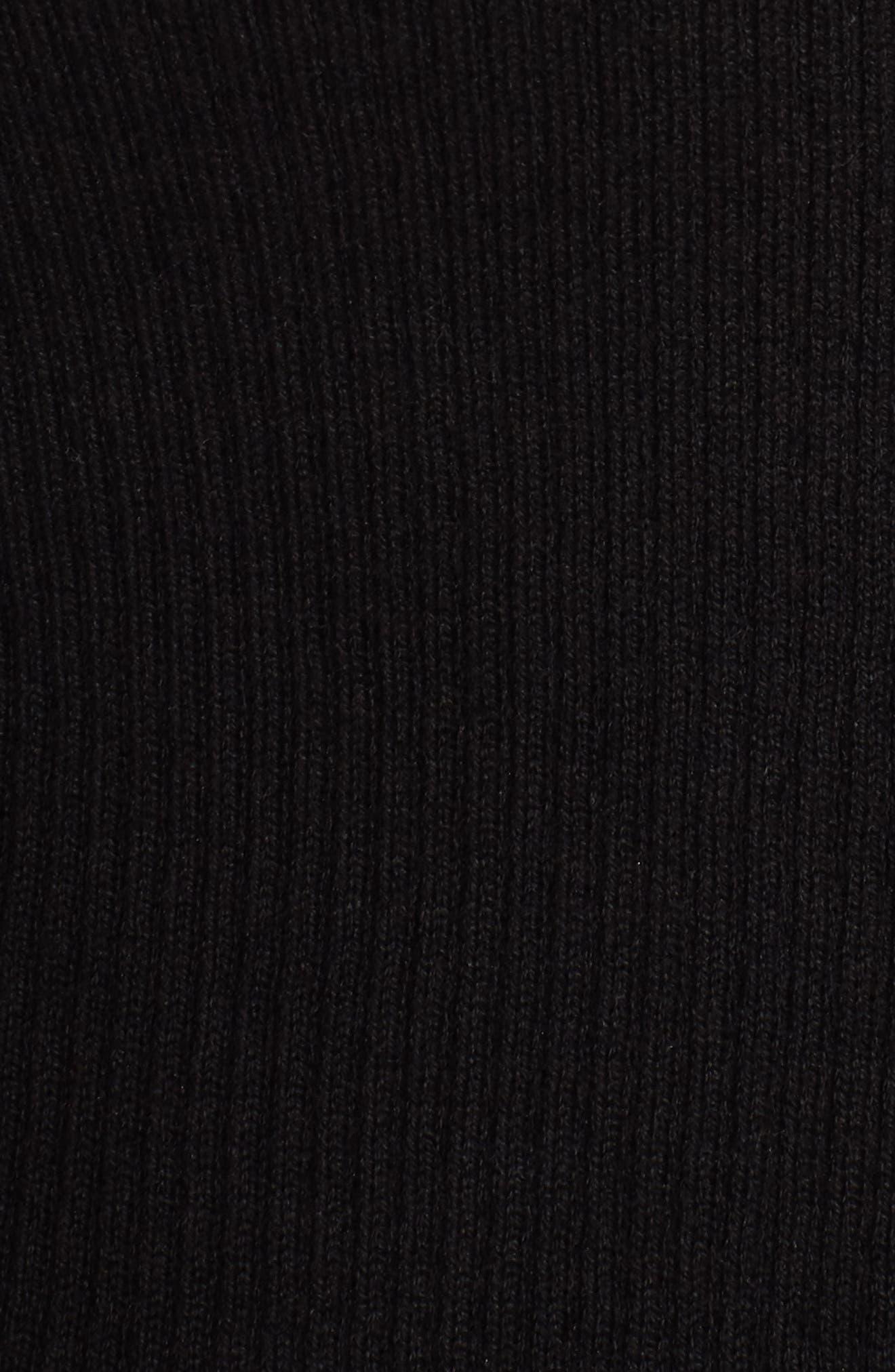 Rib Knit Crop Cardigan,                             Alternate thumbnail 5, color,                             001