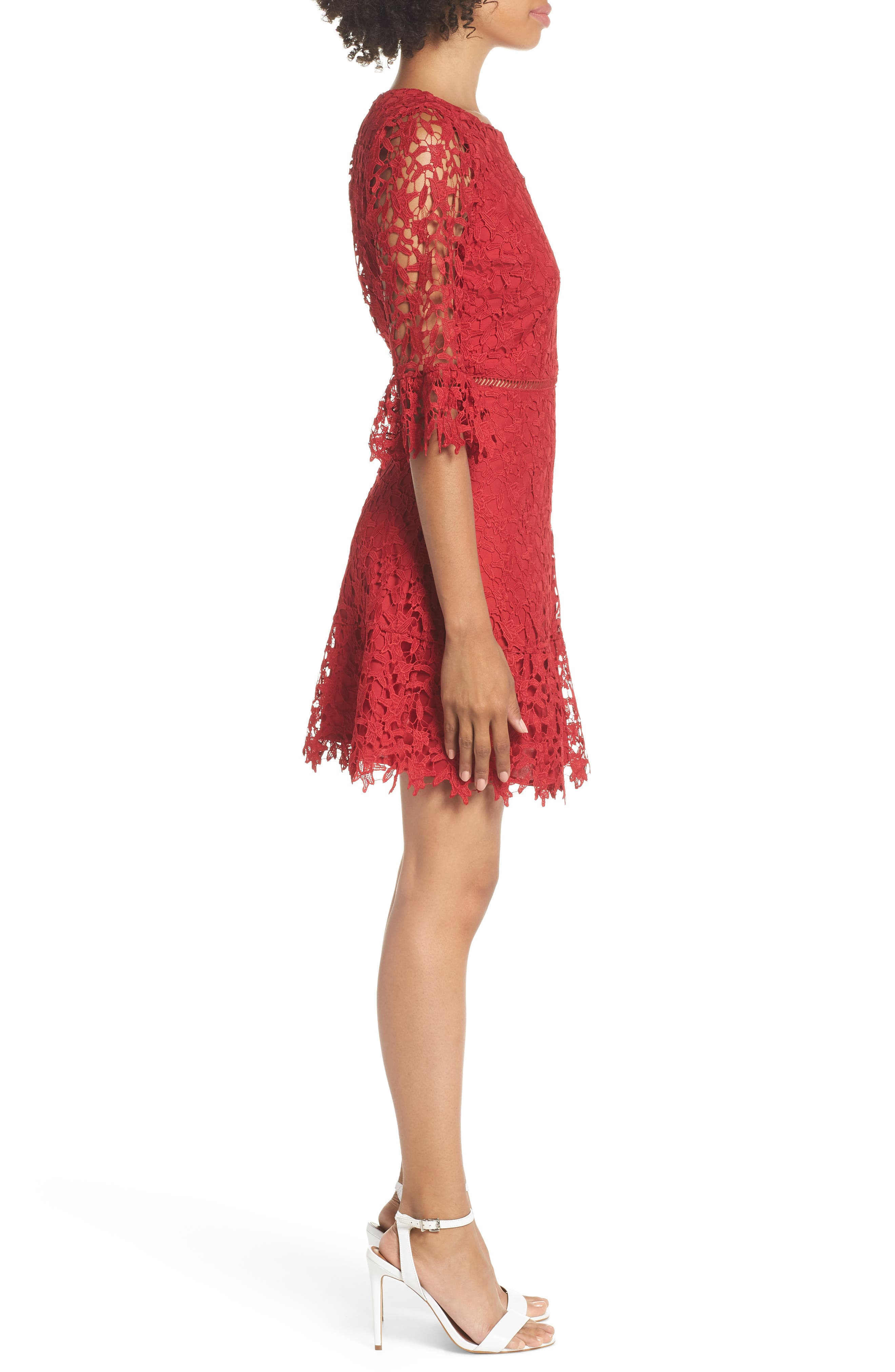 In the Moment Lace Dress,                             Alternate thumbnail 3, color,                             SCARLET RED