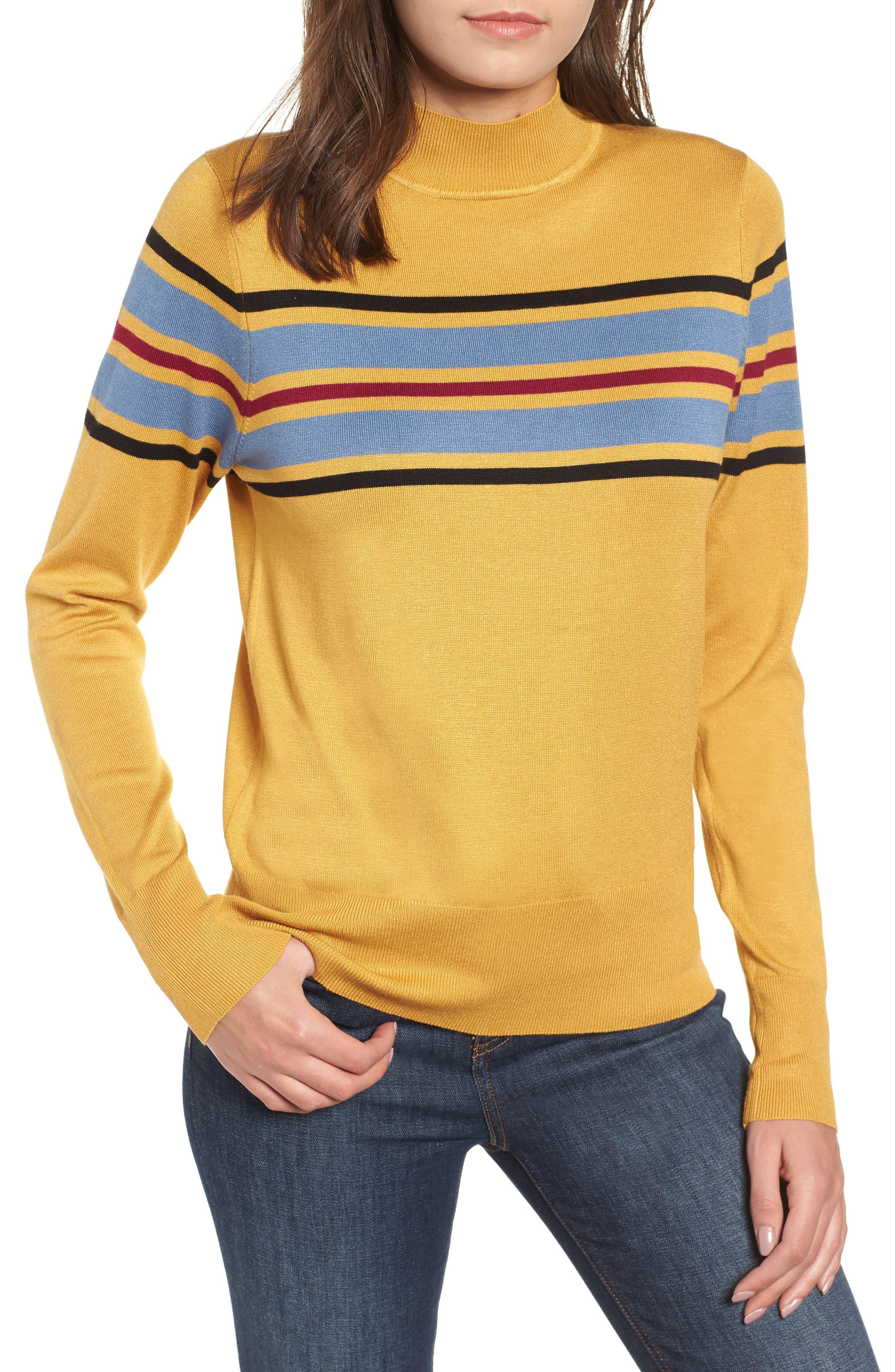 Skivvy Stripe Sweater,                         Main,                         color, MUSTARD