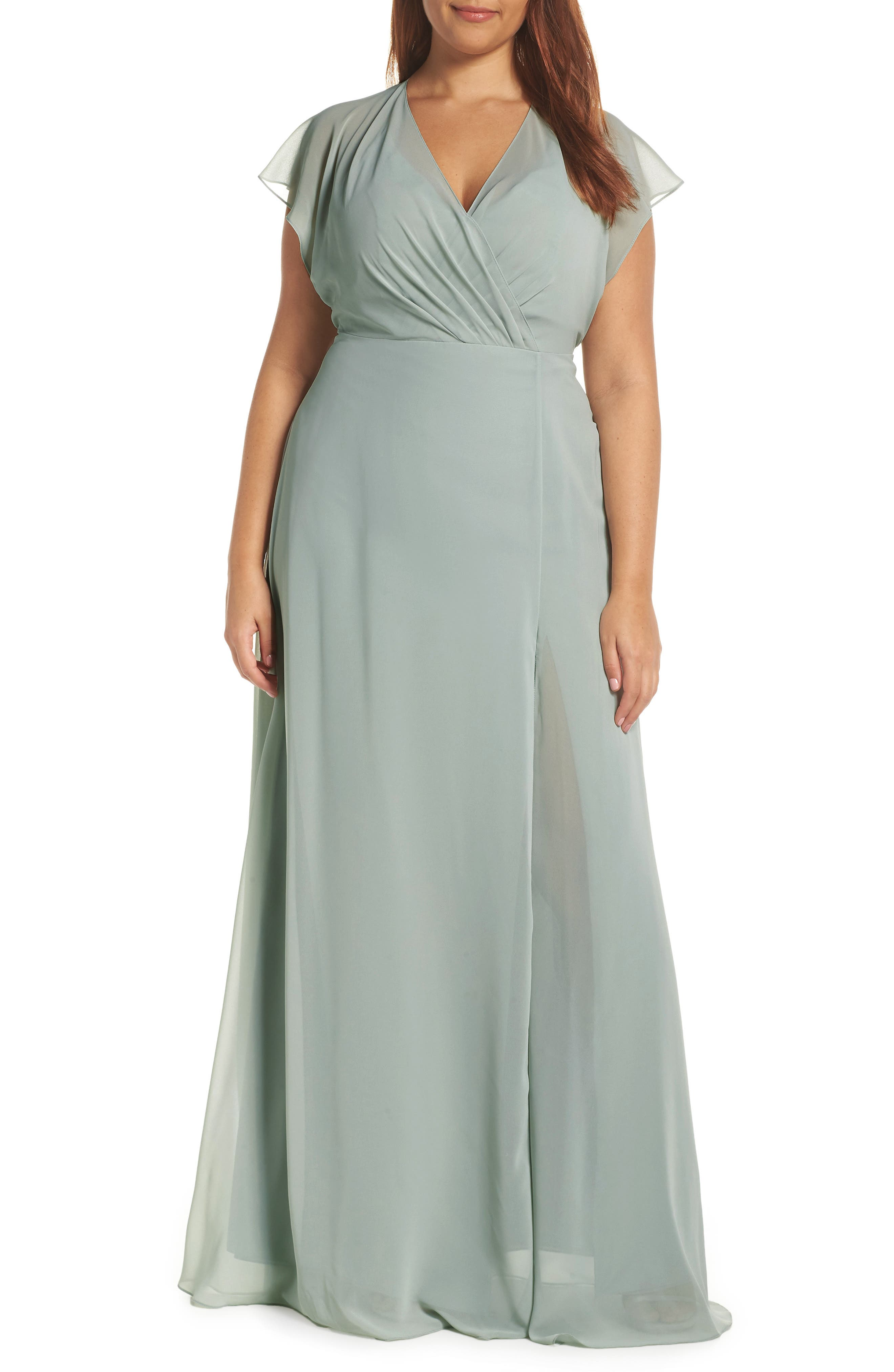 Alanna Open Back Chiffon Gown,                             Alternate thumbnail 2, color,                             MORNING MIST