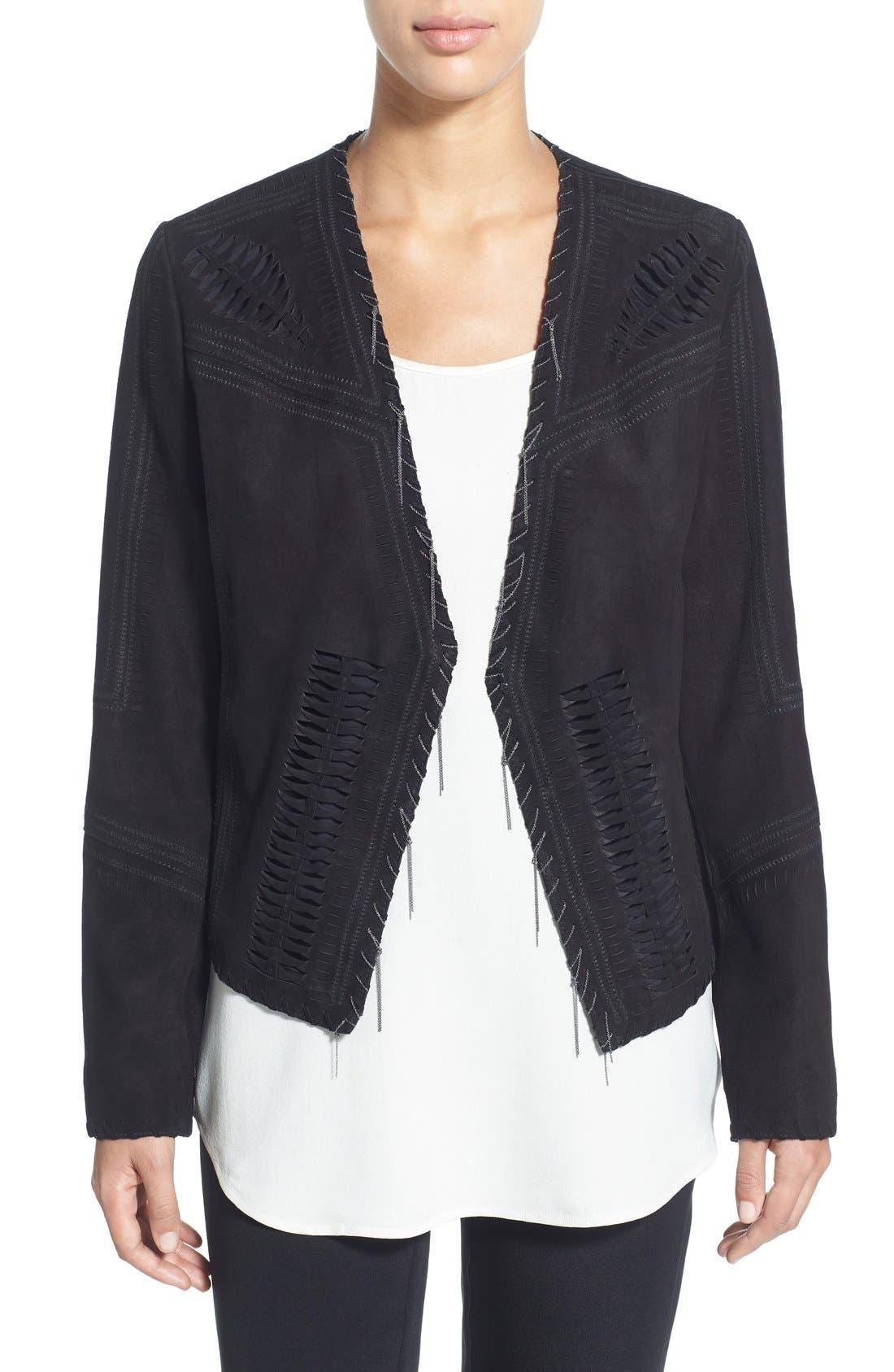 'Rhea' Chain Detail Suede Jacket,                         Main,                         color, 001
