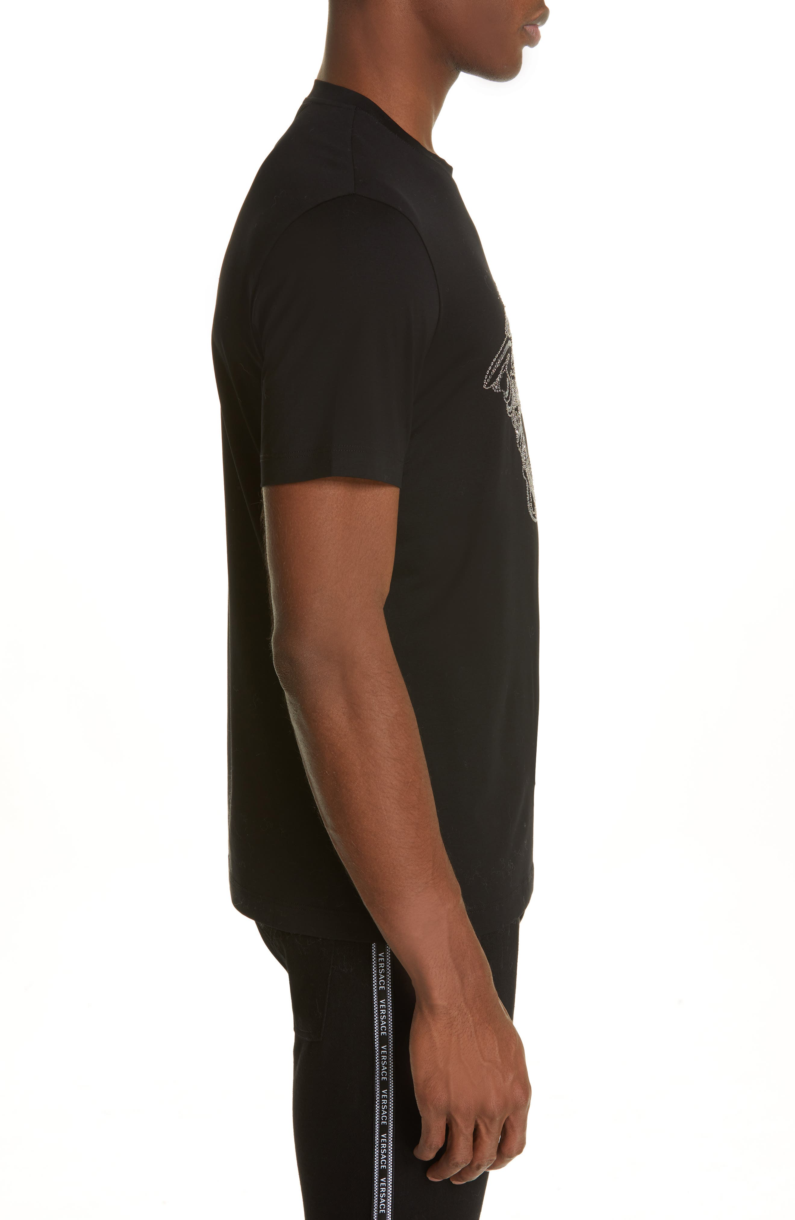 VERSACE,                             Beaded Medusa T-Shirt,                             Alternate thumbnail 3, color,                             BLACK