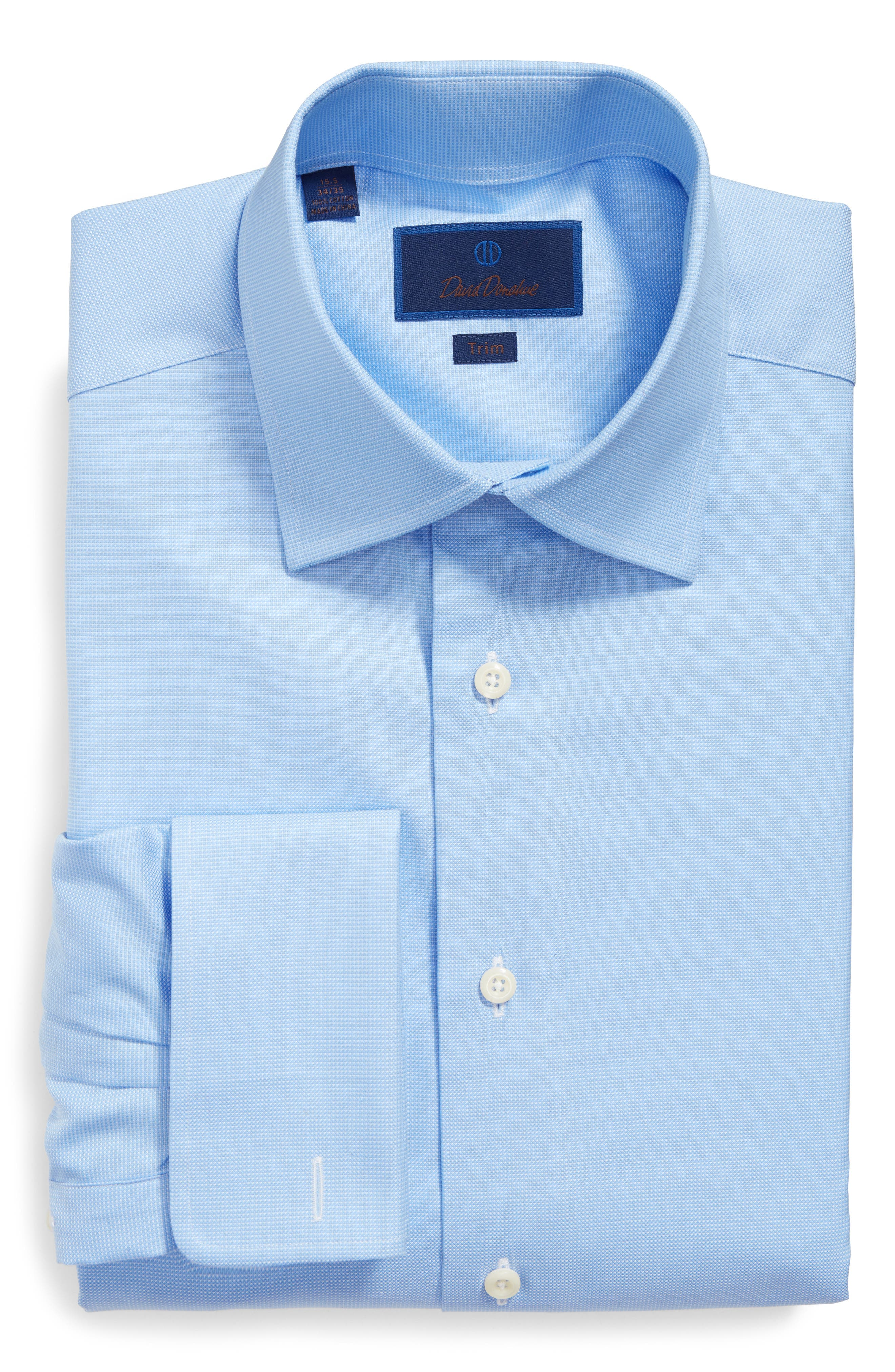 DAVID DONAHUE Trim Fit Texture French Cuff Dress Shirt, Main, color, 423
