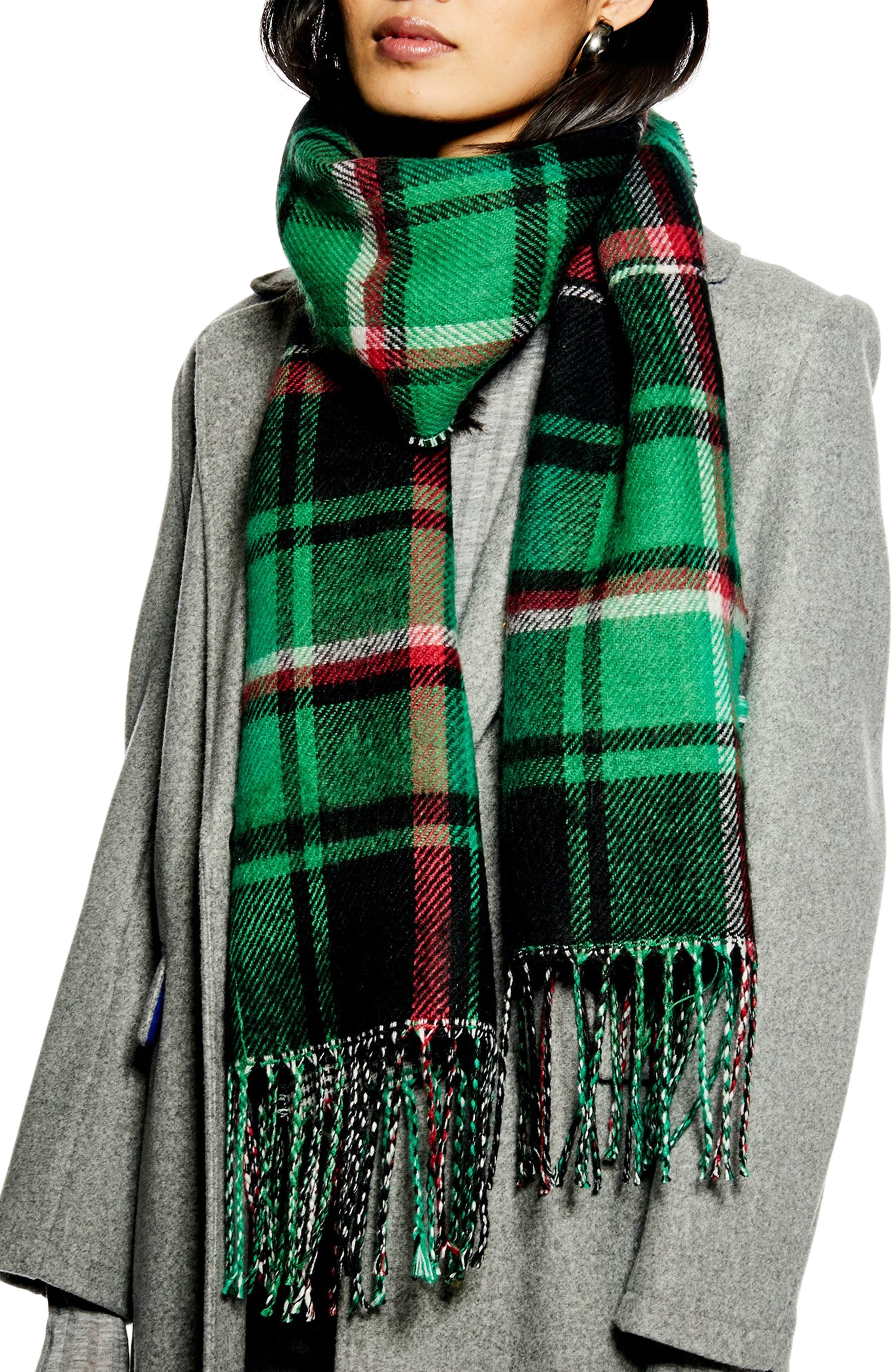 Double Face Plaid Scarf,                         Main,                         color, GREEN MULTI