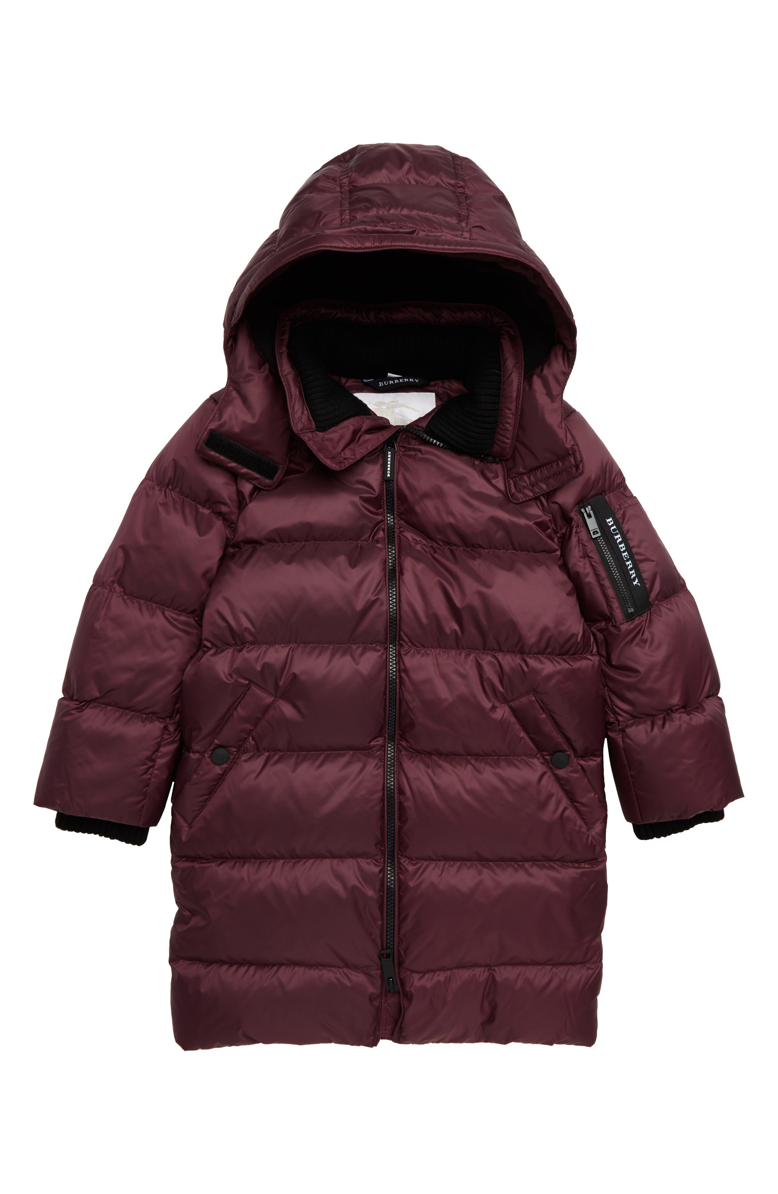 Waterproof Down Puffer Coat, Main, color, BEETROOT