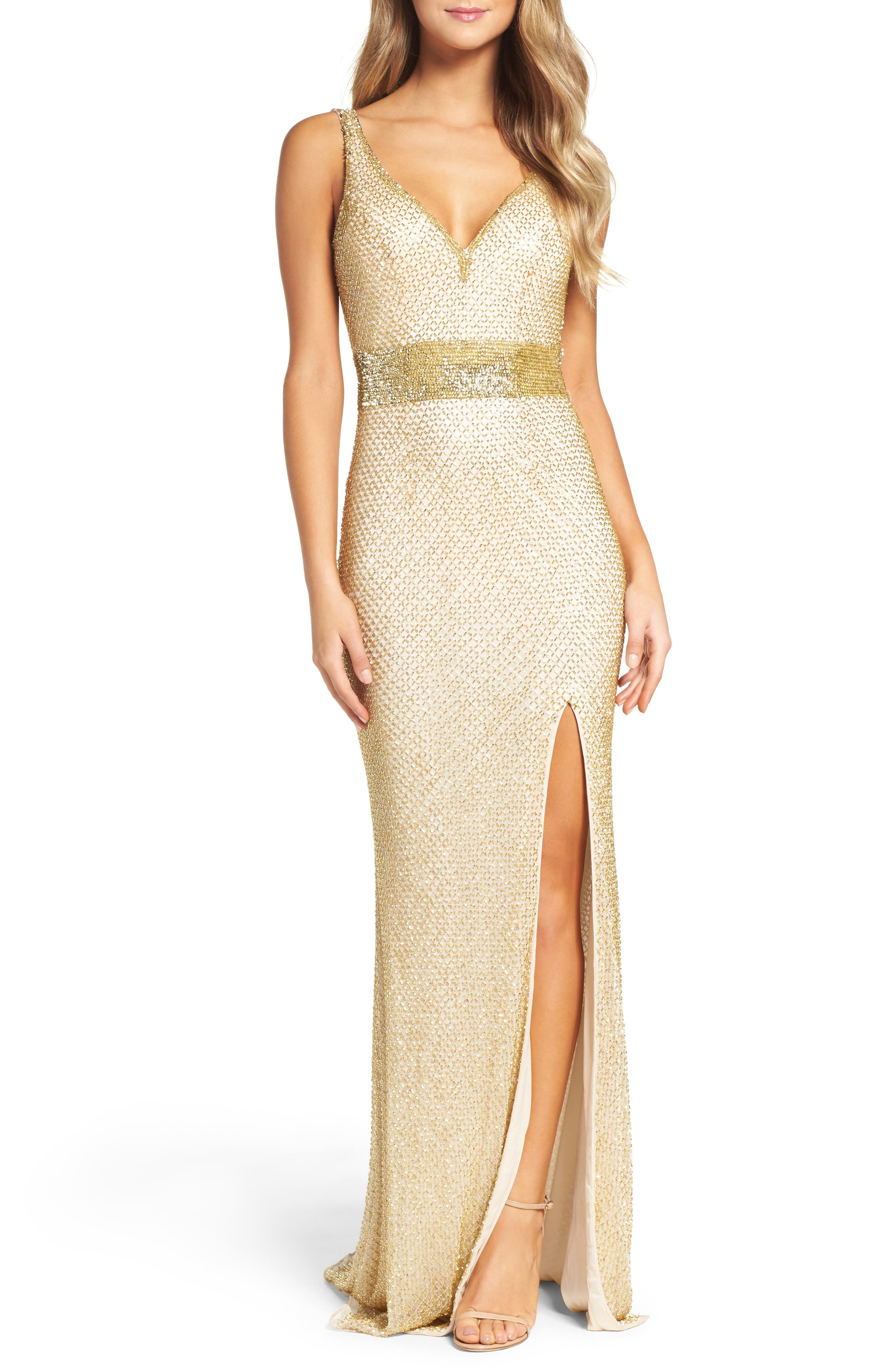 Beaded Mesh Gown,                             Main thumbnail 1, color,                             GOLD