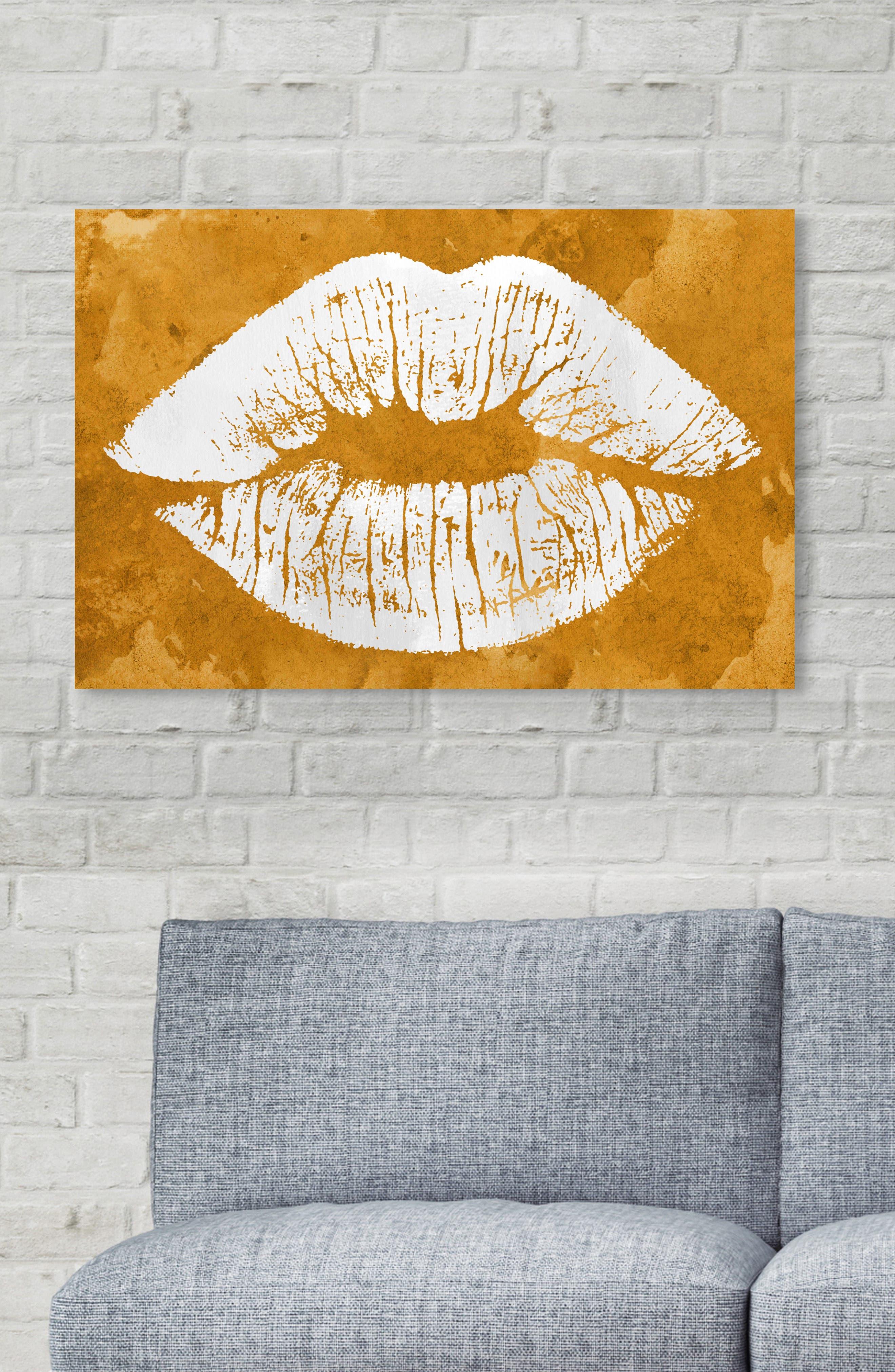 Solid Kiss Ochre Canvas Wall Art,                             Alternate thumbnail 5, color,                             OCHRE