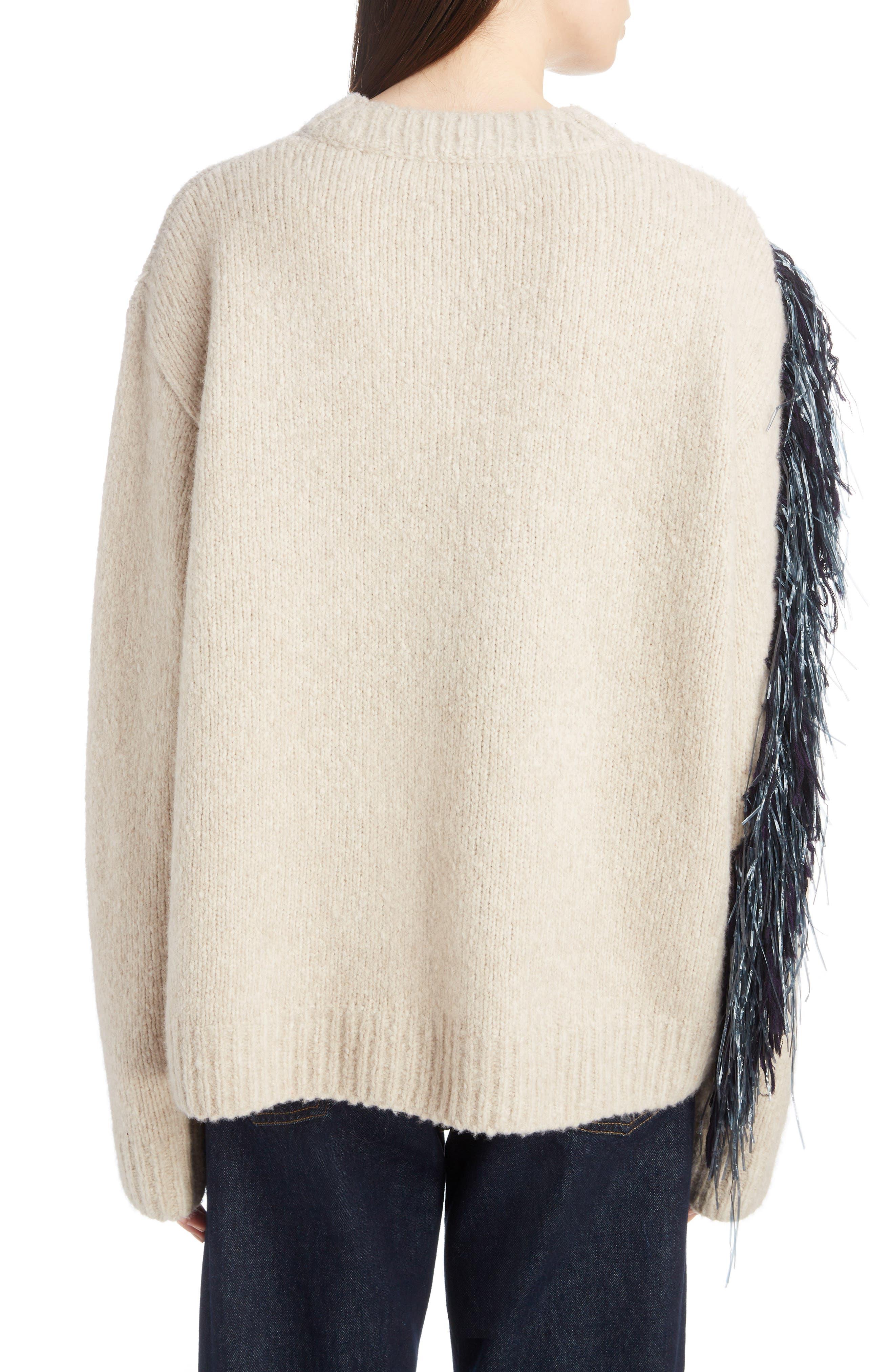 Raffia Fringe Sweater,                             Alternate thumbnail 2, color,                             ECRU