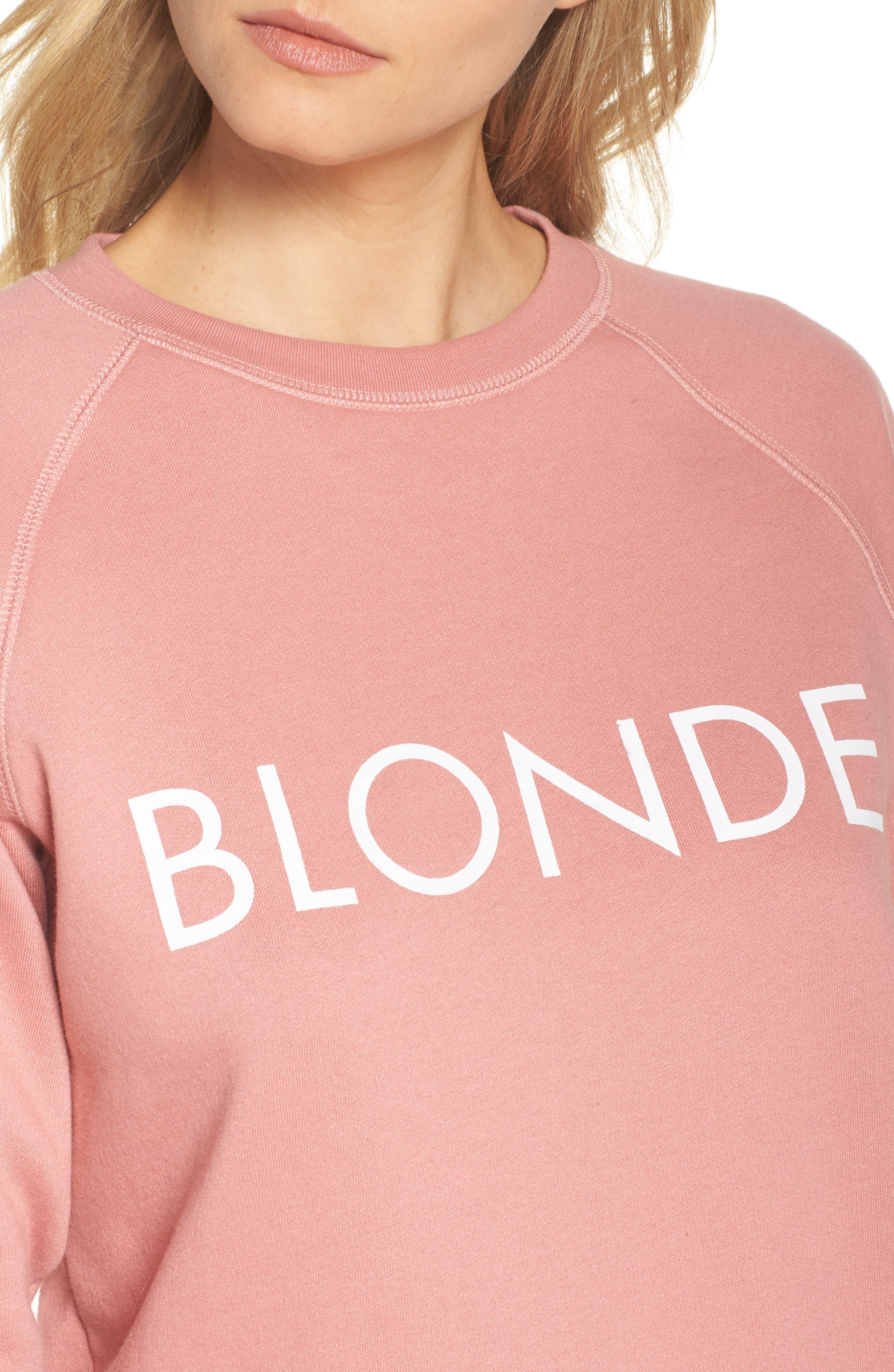 Blonde Crewneck Sweatshirt,                             Alternate thumbnail 4, color,