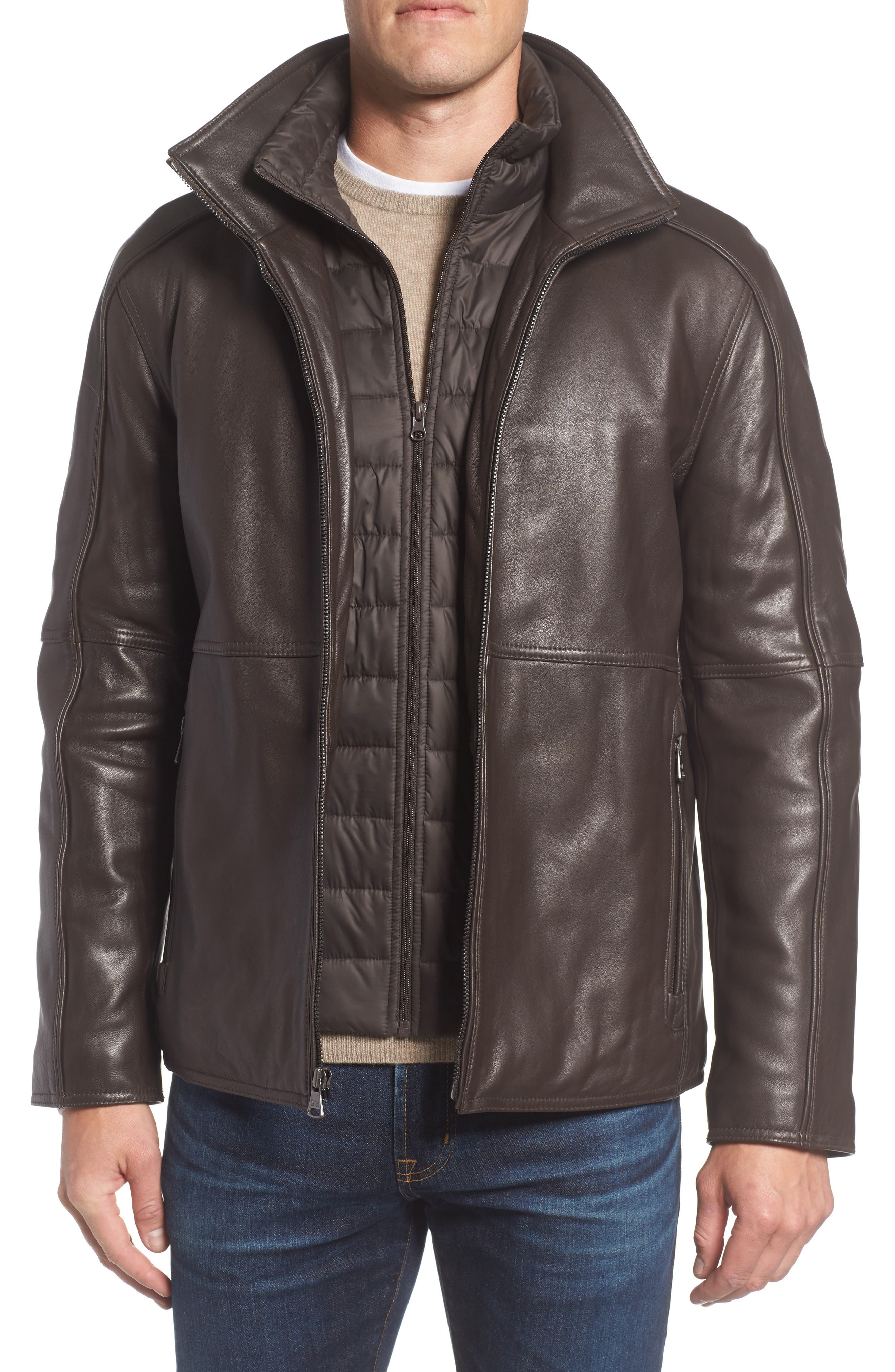 Leather Jacket with Quilted Insert,                             Main thumbnail 2, color,