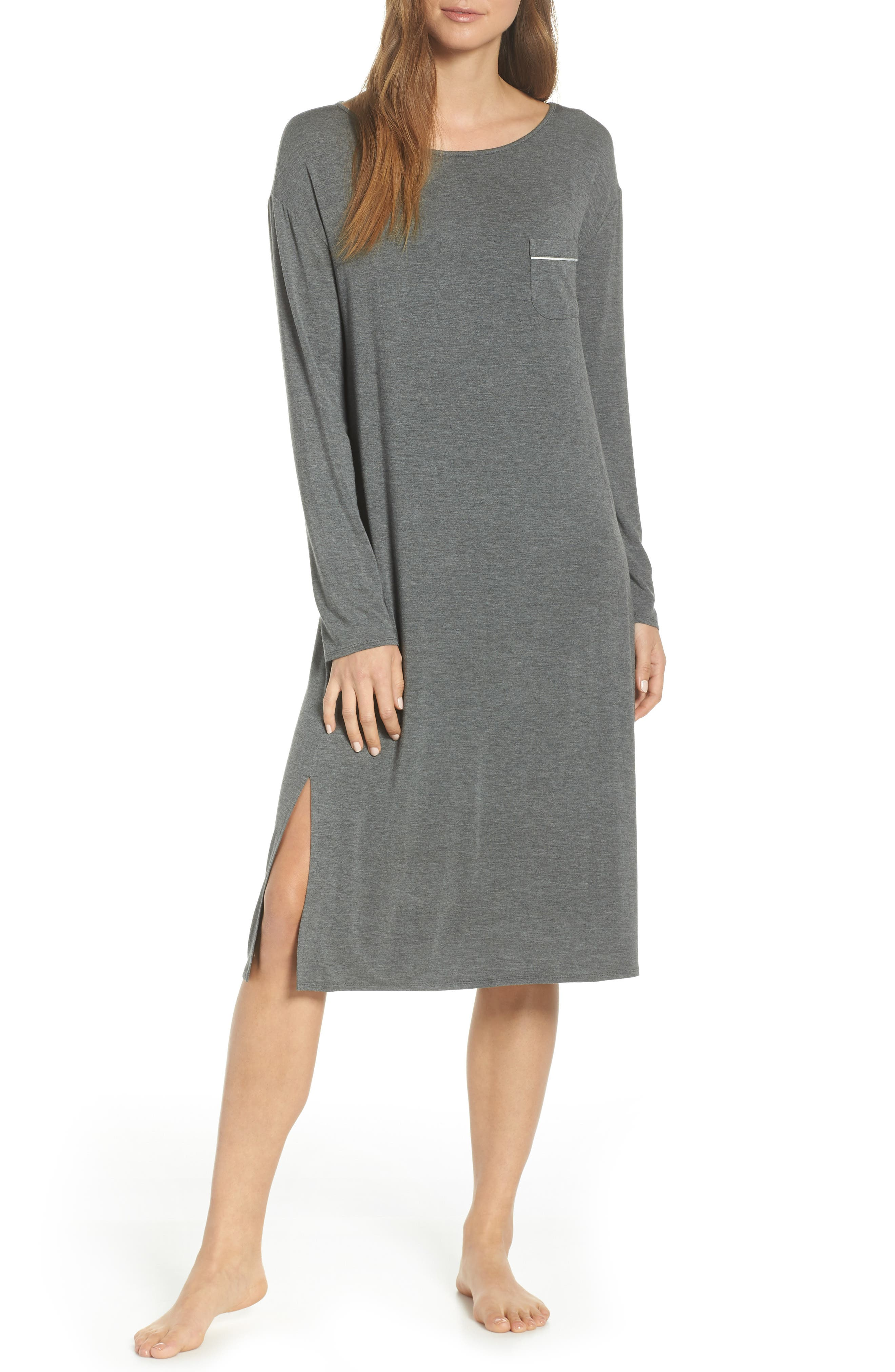 Nordstrom Lingerie Moonlight Midi Nightgown, Grey