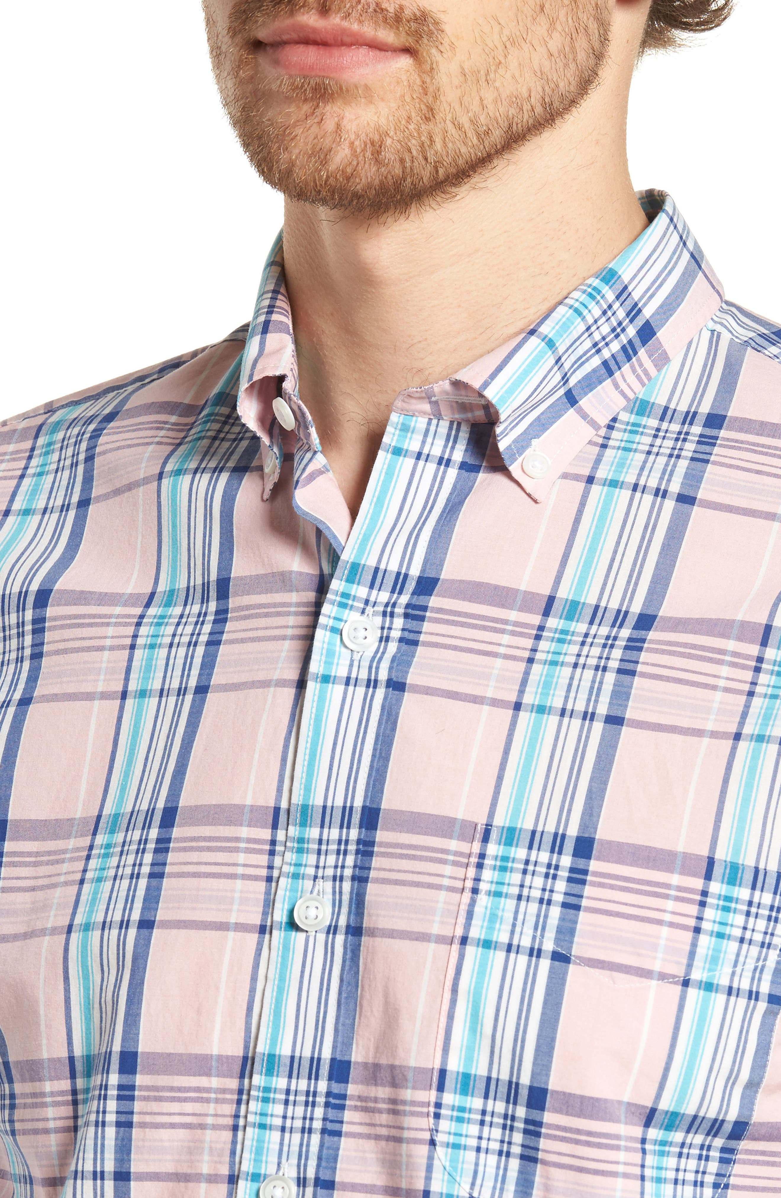 Slim Fit Summerweight Plaid Sport Shirt,                             Alternate thumbnail 4, color,                             650