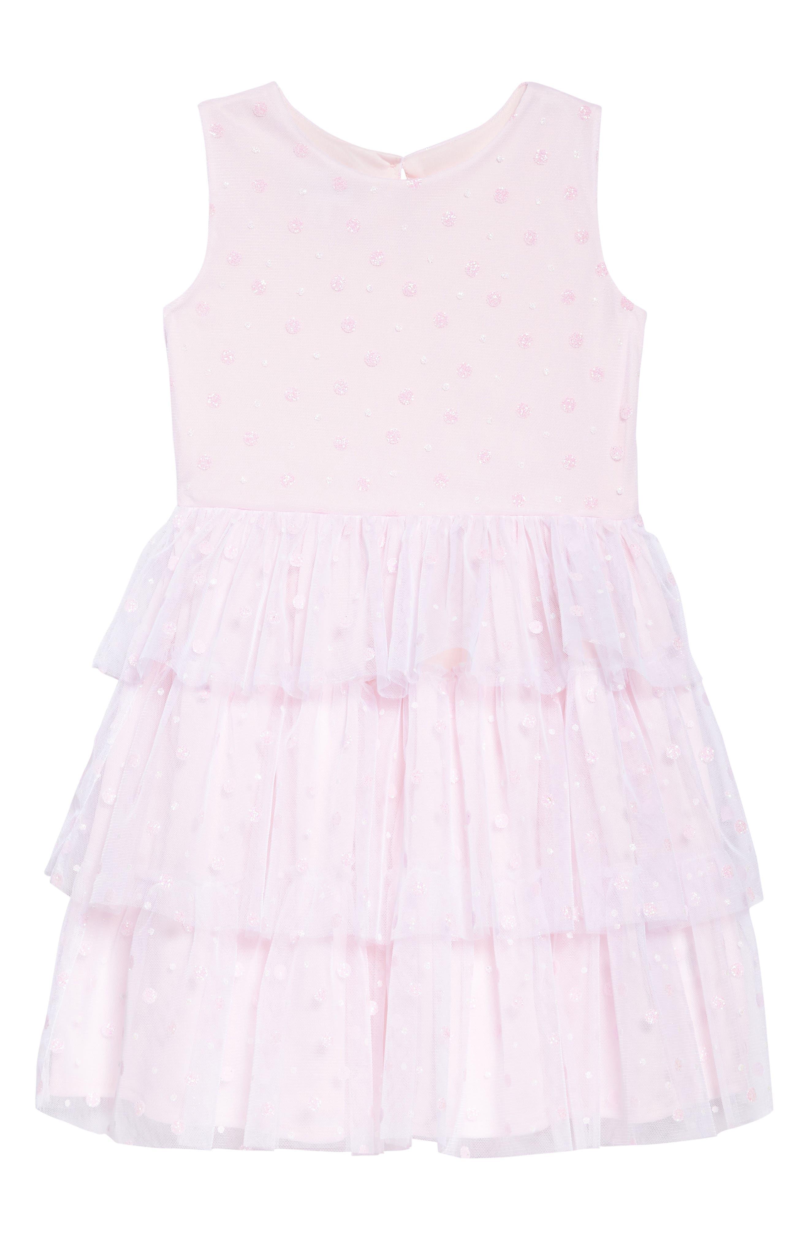 Glitter Dot Fit & Flare Mesh Dress,                             Main thumbnail 1, color,                             PINK
