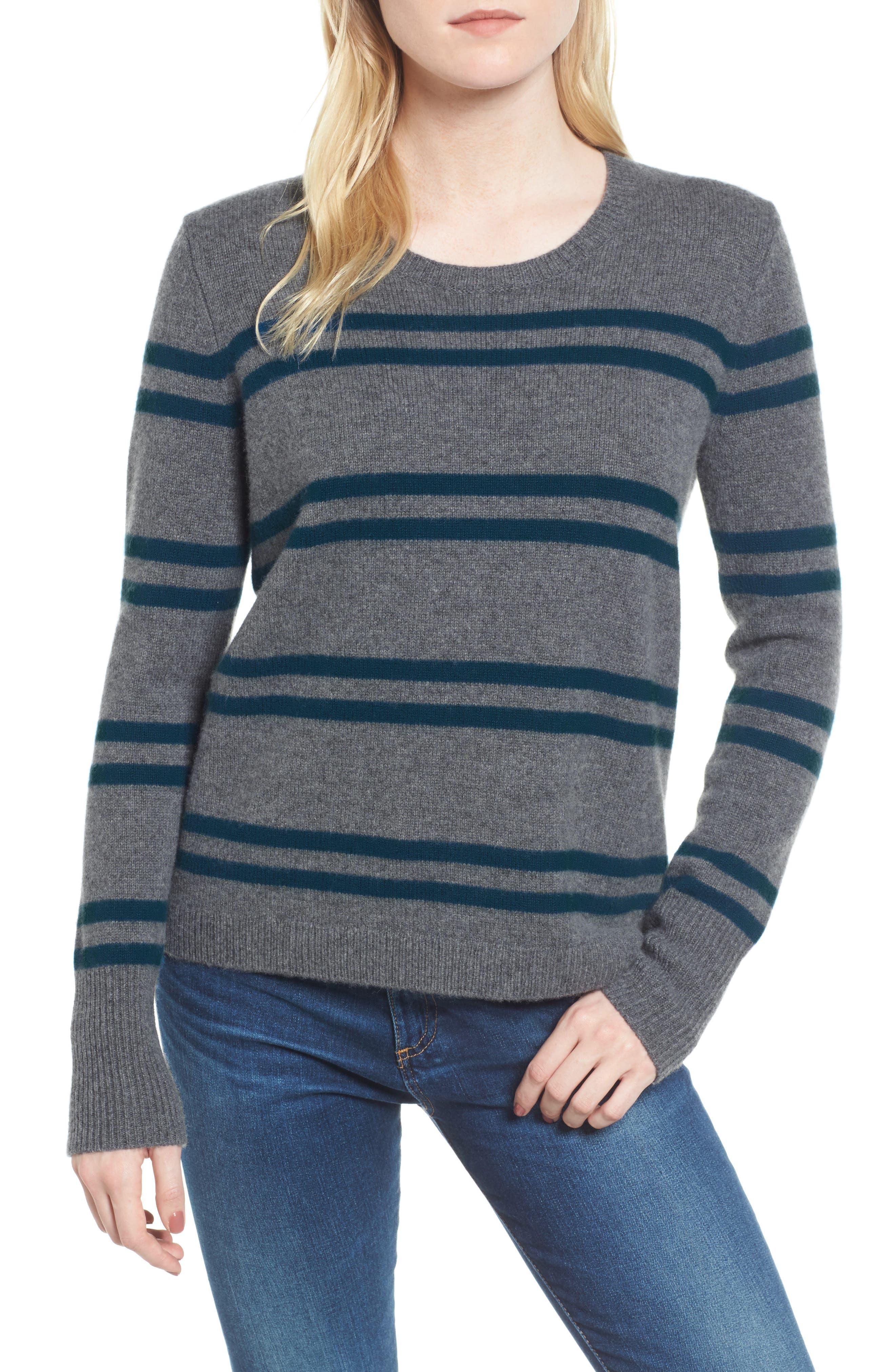 Stripe Cashmere Sweatshirt,                         Main,                         color, 453
