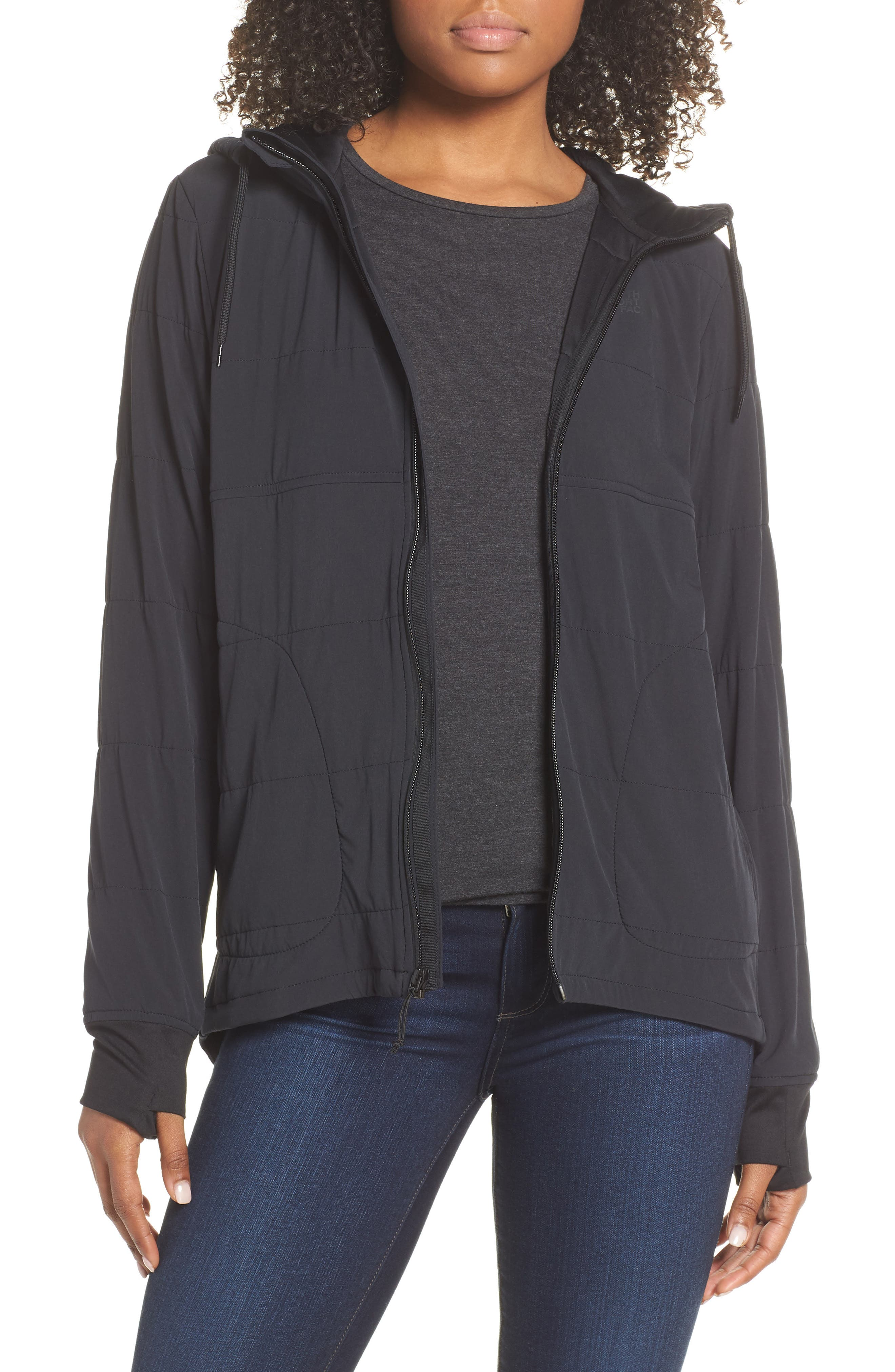 THE NORTH FACE,                             Mountain Insulated Zip Hooded Jacket,                             Main thumbnail 1, color,                             TNF BLACK