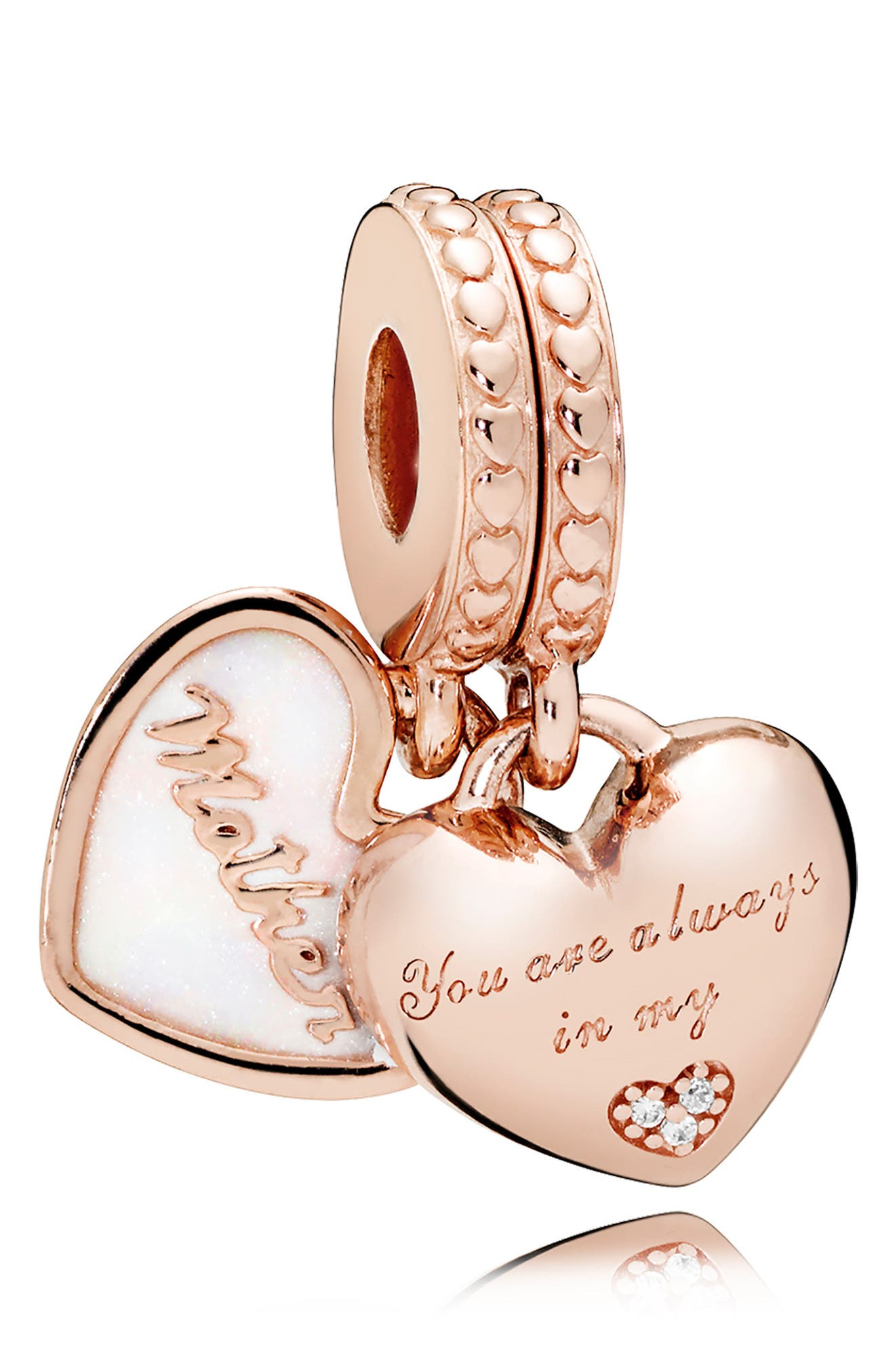 Rose Mother & Daughter Hearts Charm,                             Main thumbnail 1, color,                             ROSE GOLD