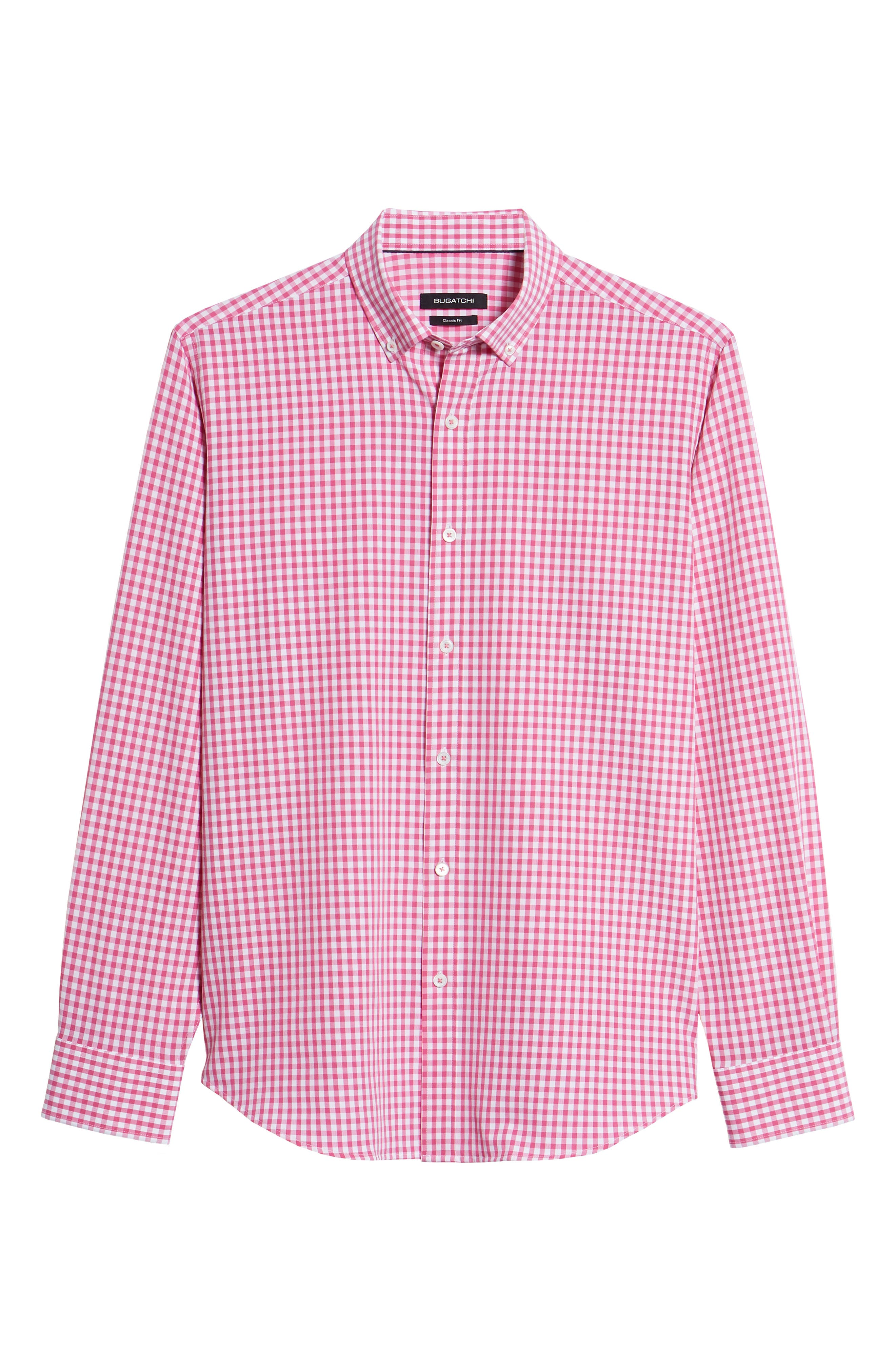 Classic Fit Gingham Performance Sport Shirt,                             Alternate thumbnail 6, color,                             PINK