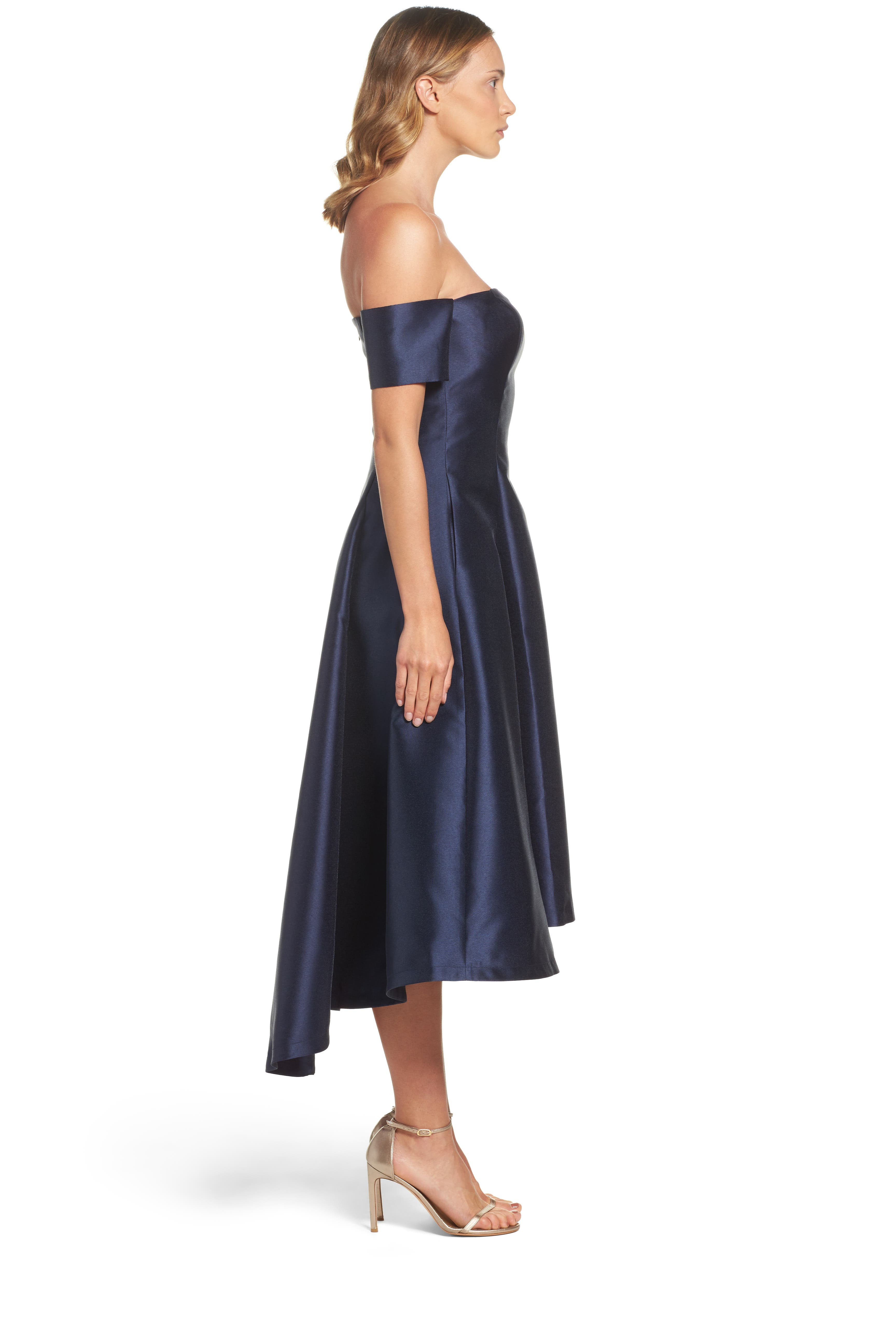 Off the Shoulder High/Low Gown,                             Alternate thumbnail 3, color,                             410