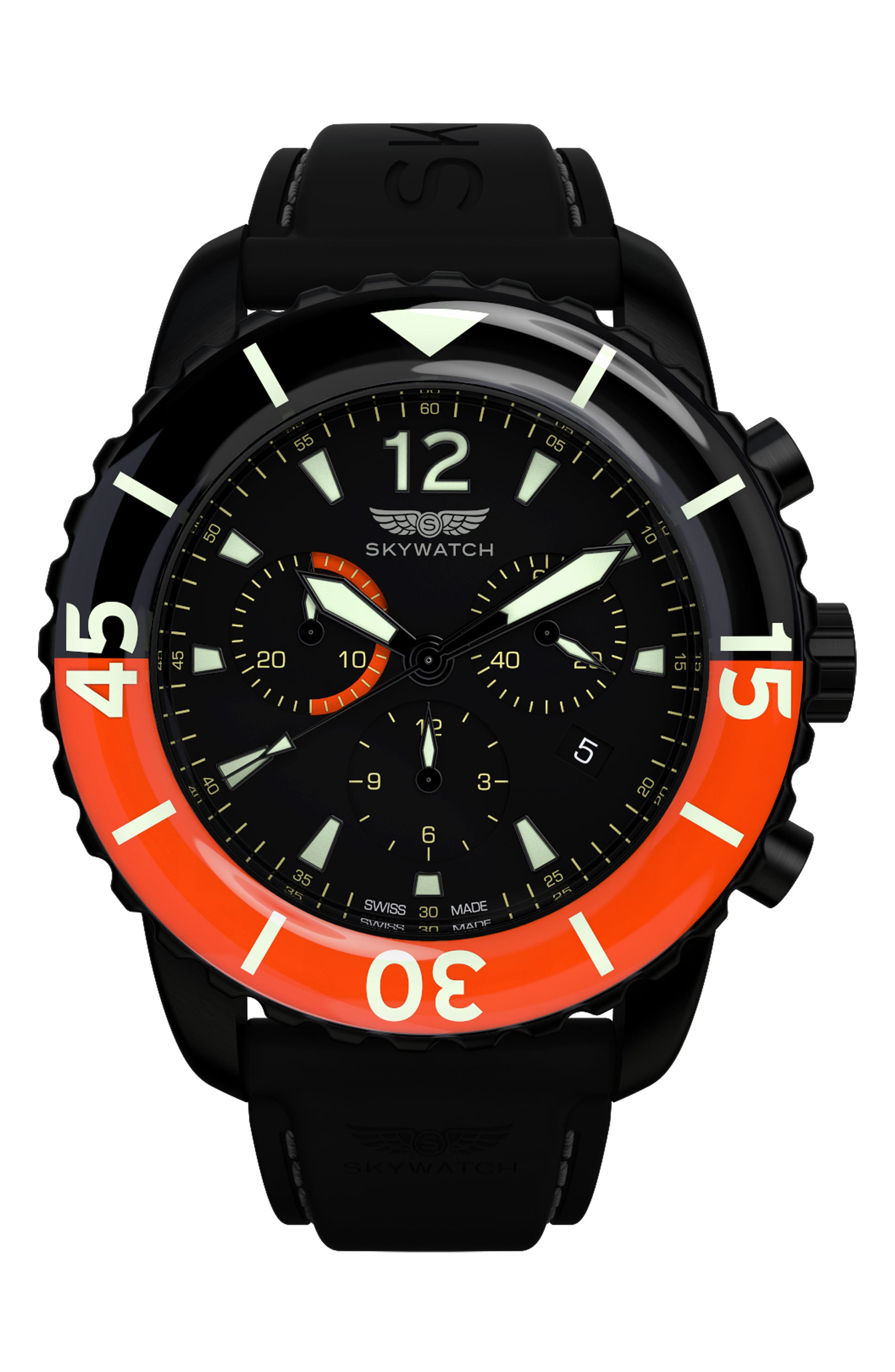 SKYWATCH,                             Classic Chronograph Silicone Strap Watch, 44mm,                             Main thumbnail 1, color,                             BLACK/ BLACK
