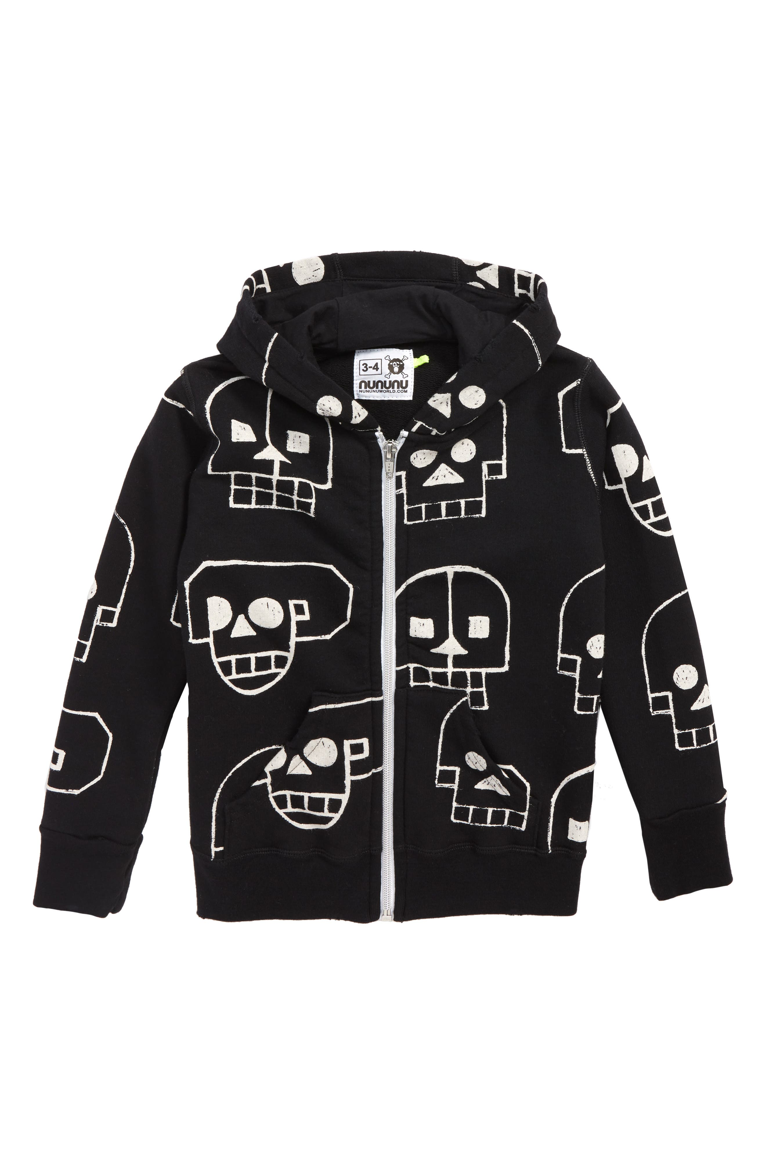 Skull Robot Full Zip Hoodie,                         Main,                         color, BLACK