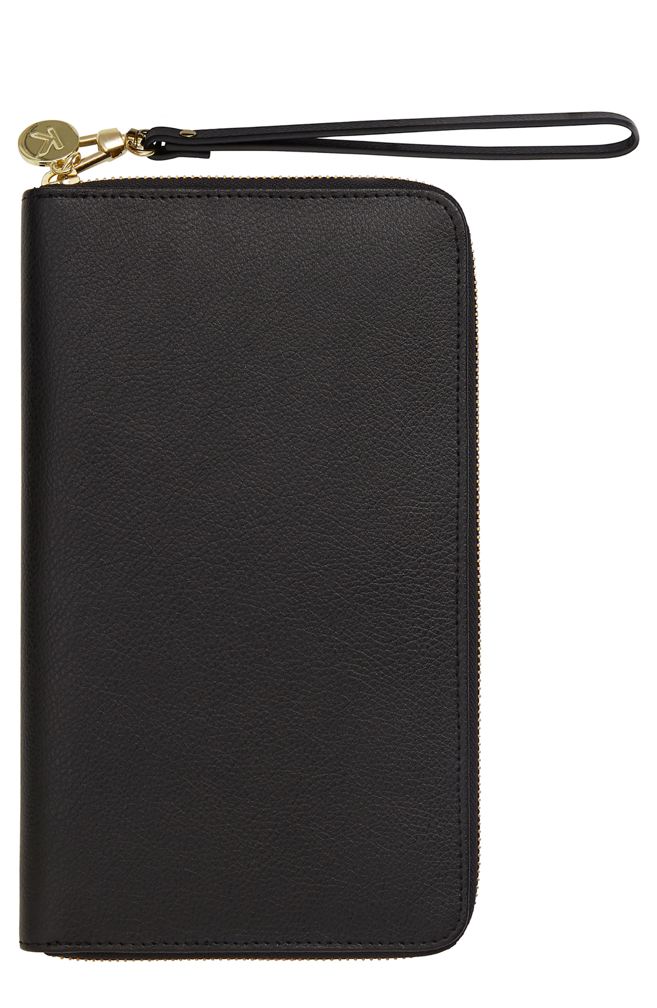 Leather Zip-Around Travel Wallet,                             Main thumbnail 1, color,                             JET BLACK