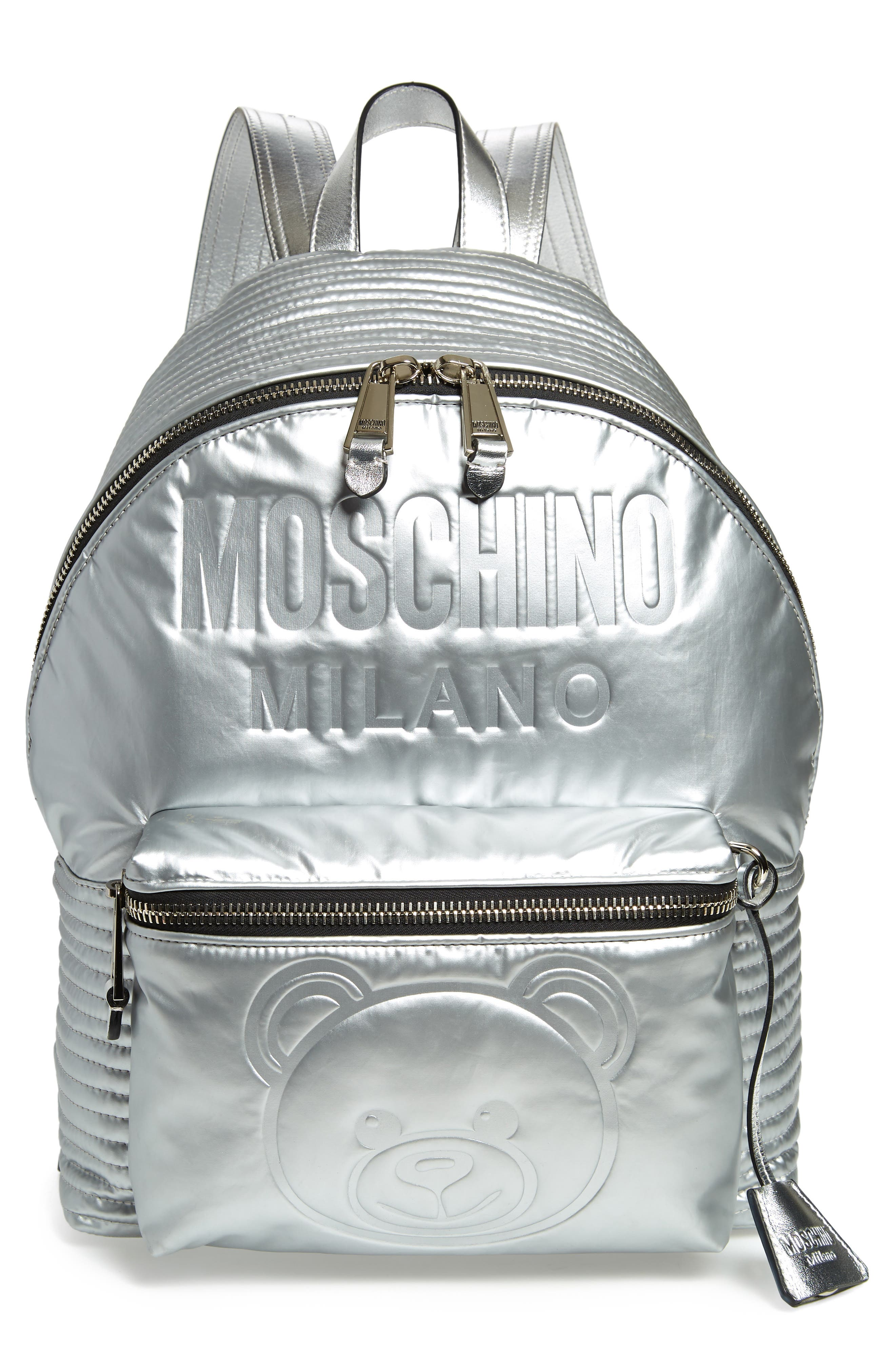 Embossed Teddy Bear Backpack - Metallic in Silver