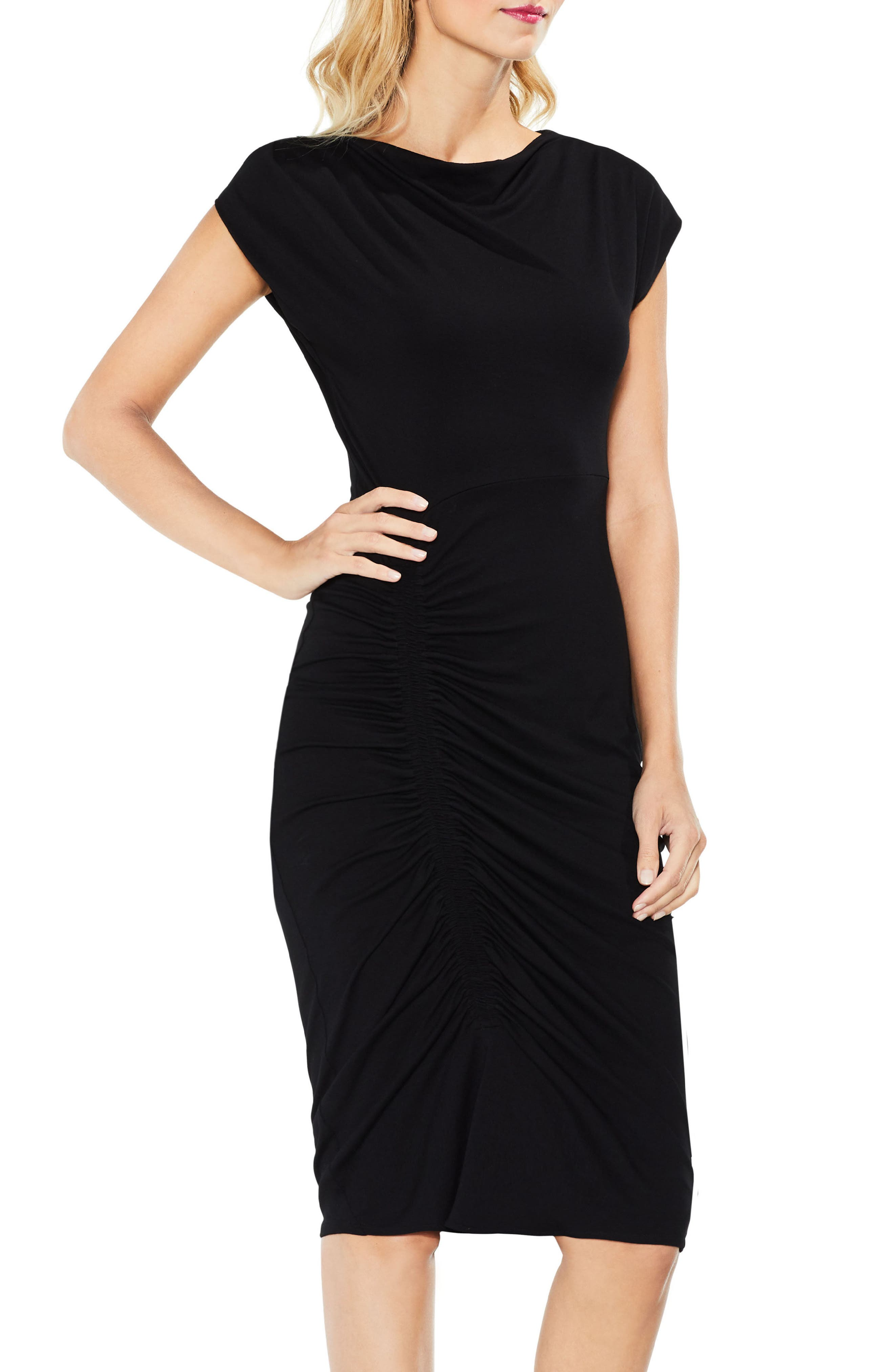 Ruched Jersey Midi Dress,                             Alternate thumbnail 3, color,                             006