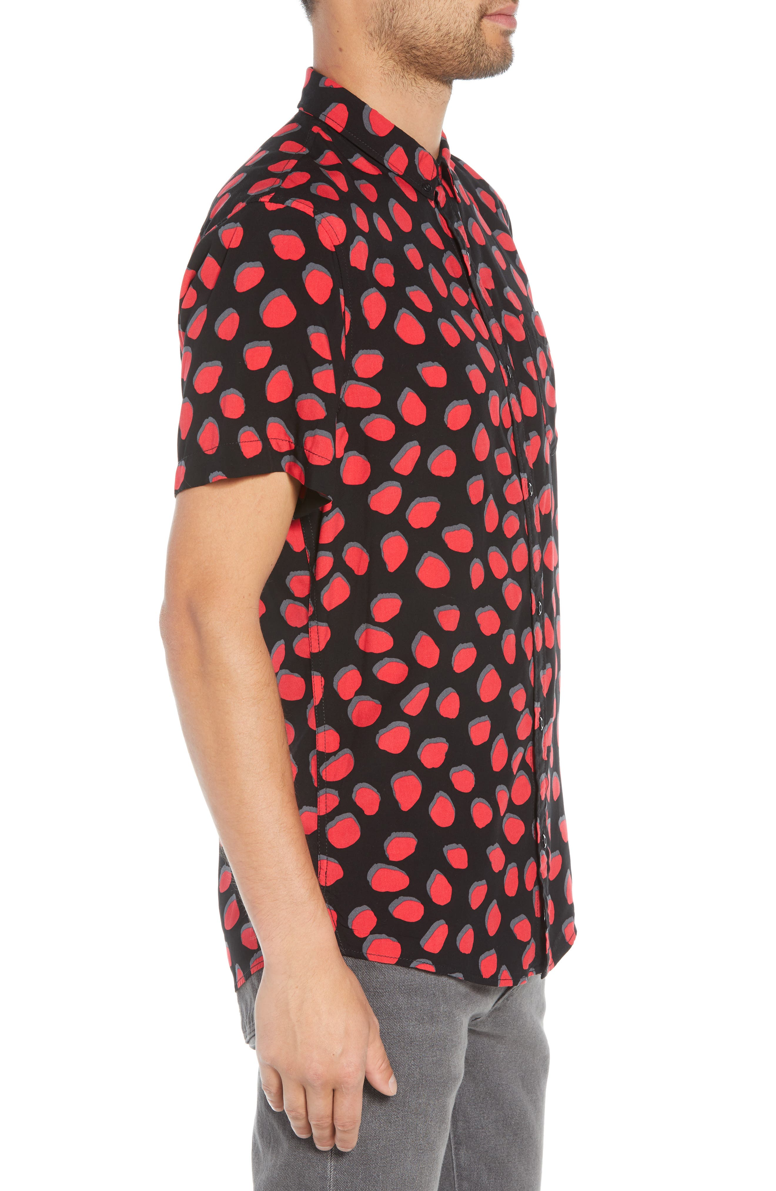 Dot Print Woven Shirt,                             Alternate thumbnail 3, color,                             BLACK CORAL INKY DOTS