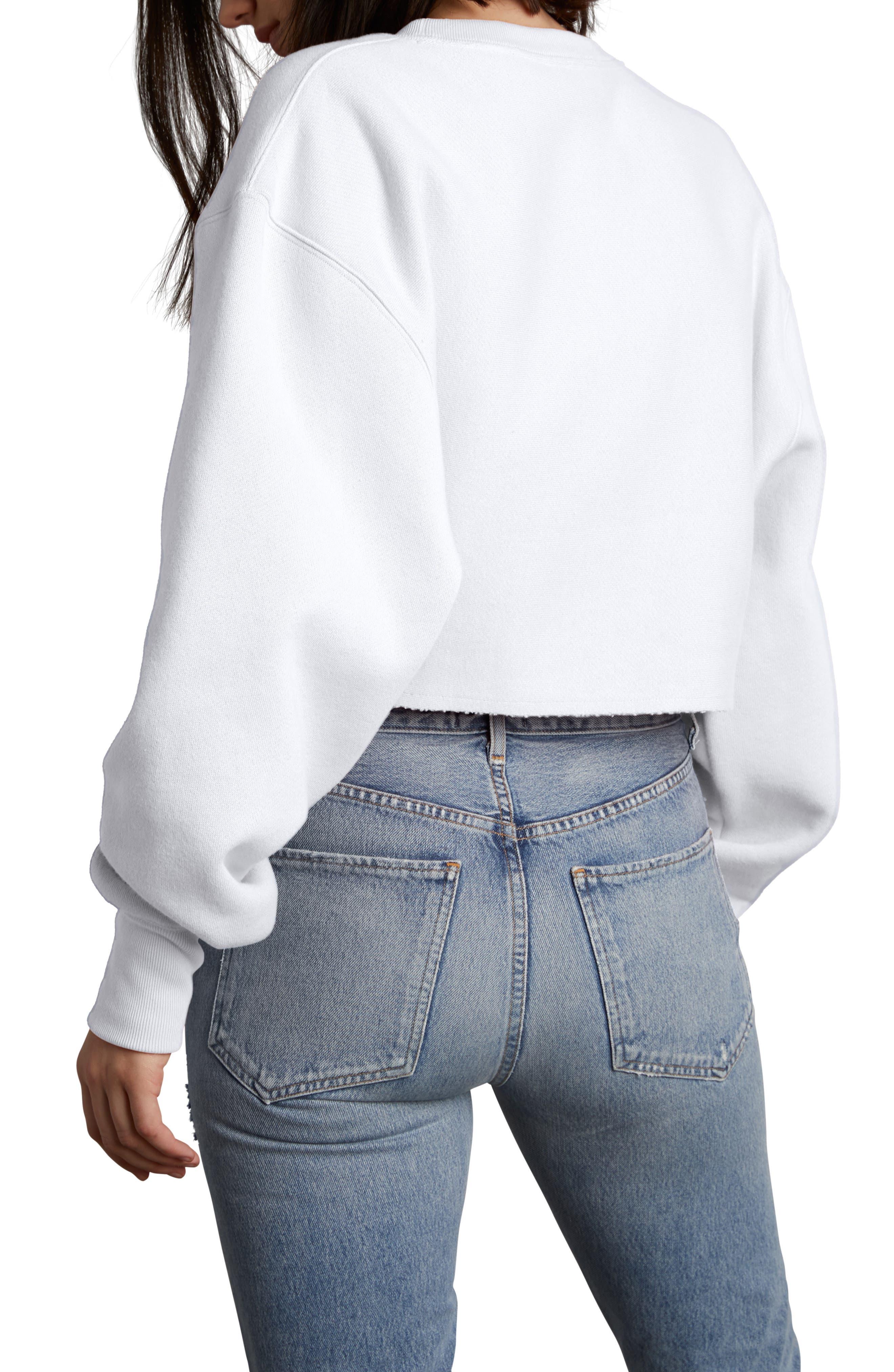 Crop Reverse Weave Sweatshirt,                             Alternate thumbnail 2, color,                             WHITE